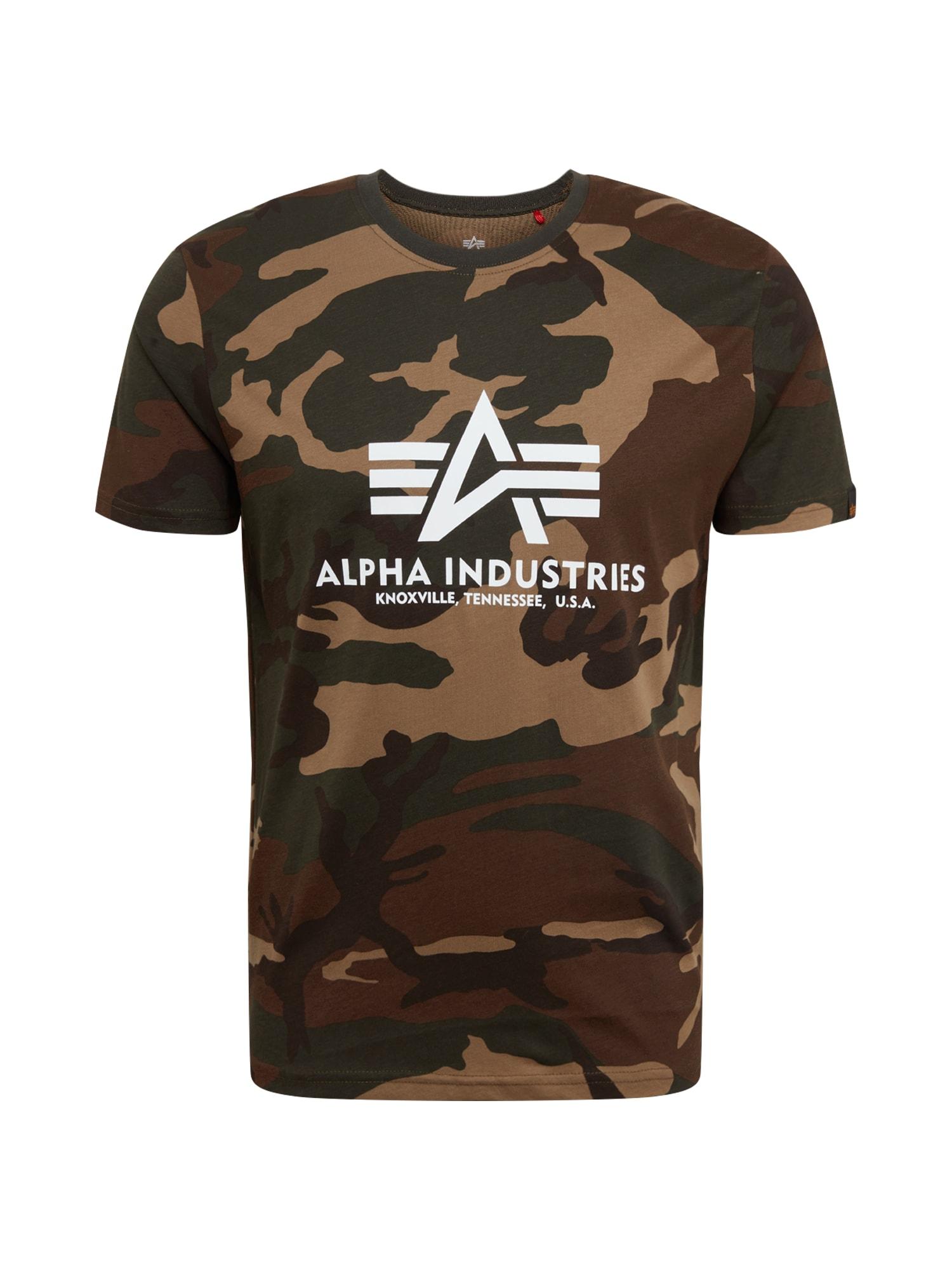 ALPHA INDUSTRIES Marškinėliai tamsiai žalia / ruda / balta