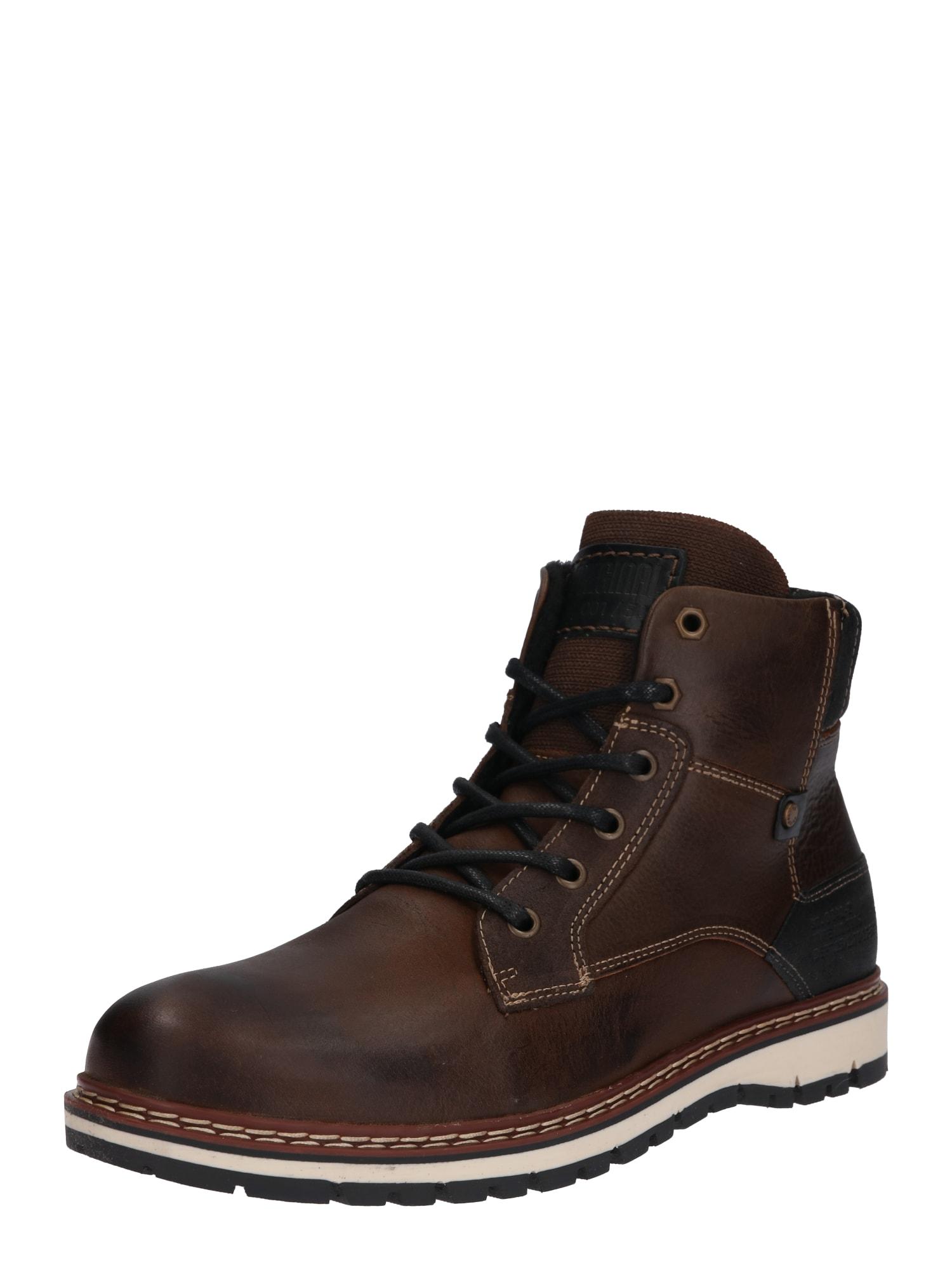 BULLBOXER Auliniai batai su raišteliais tamsiai ruda