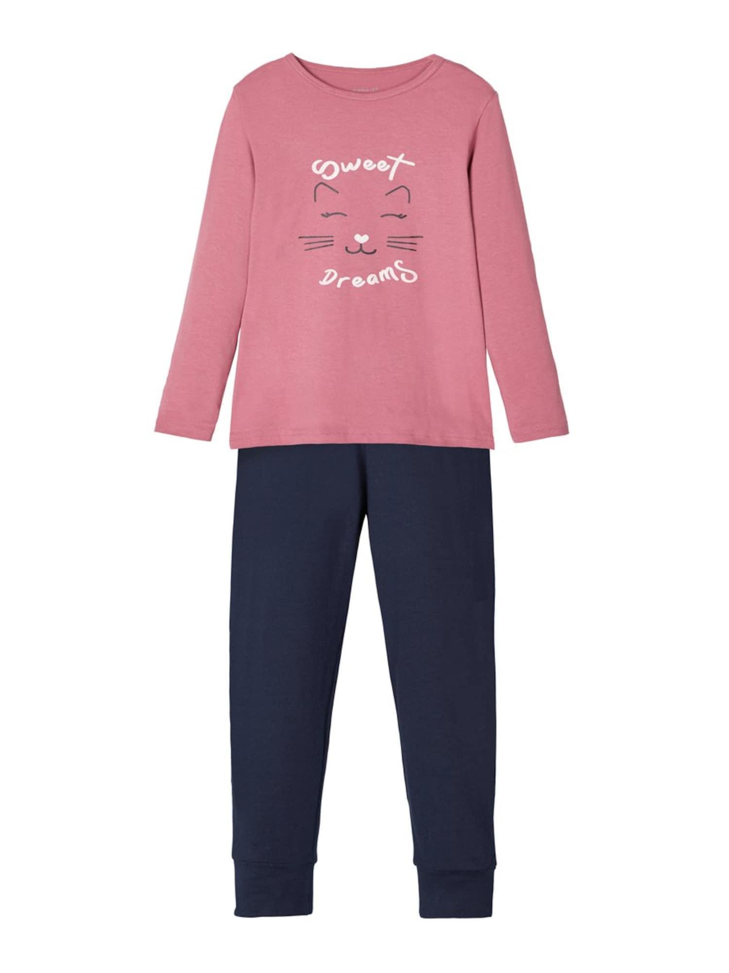 NAME IT Miego kostiumas tamsiai mėlyna / ryškiai rožinė spalva / balta