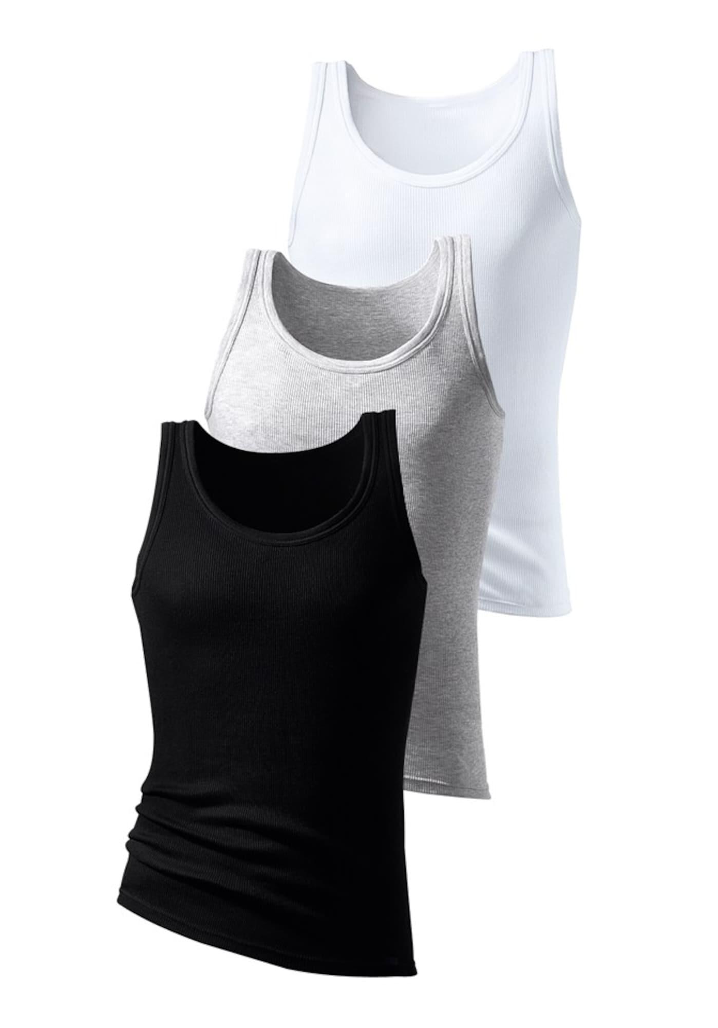 H.I.S Apatiniai marškinėliai margai pilka / juoda / balta