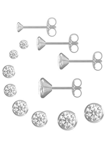 Ohrringe für Frauen - FIRETTI 4 Paar Ohrstecker rund in verschiedenen Durchmessern (8tlg.) silber  - Onlineshop ABOUT YOU