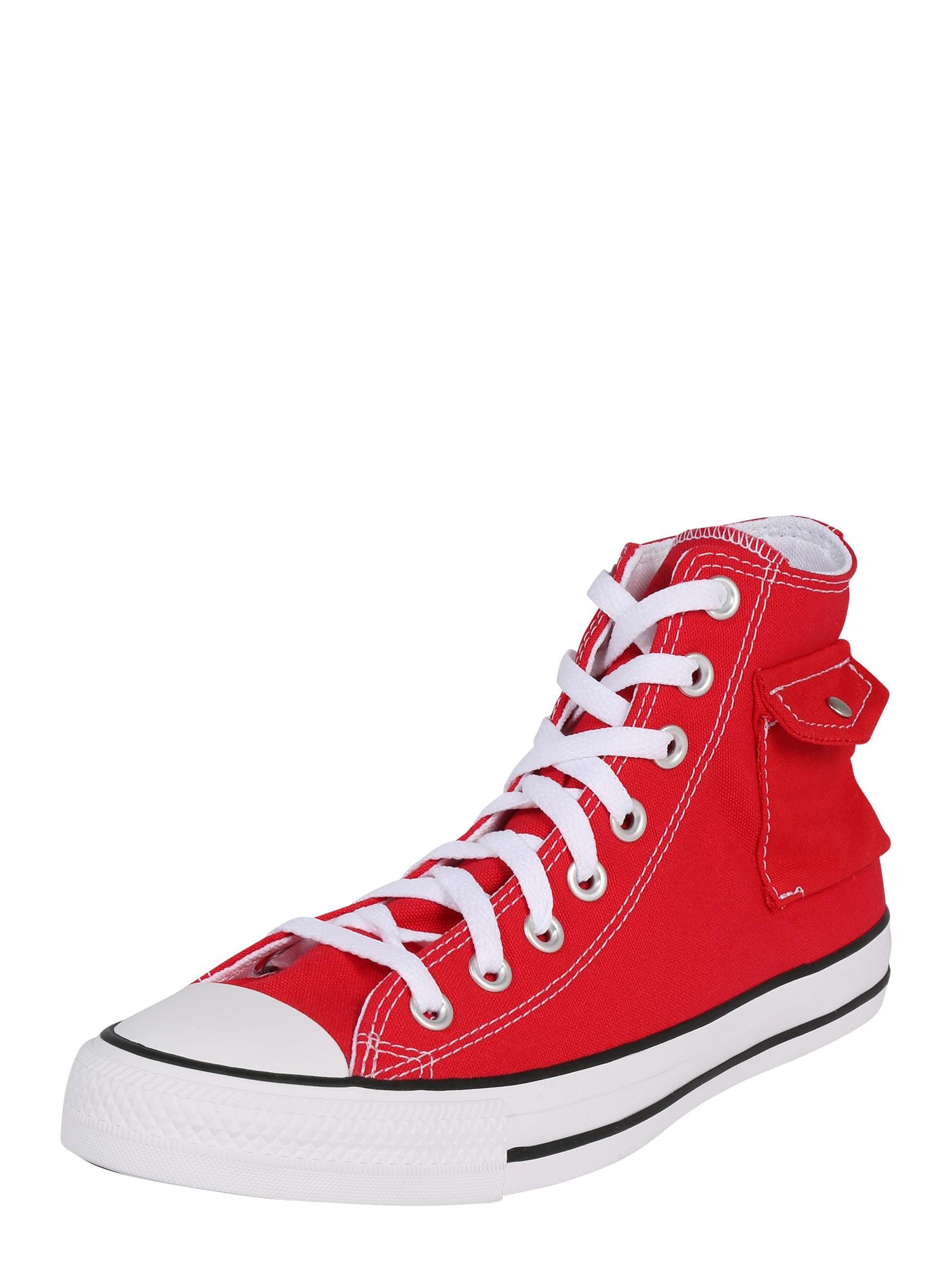 CONVERSE Členkové tenisky 'Chuck Taylor All Star Pocket Hi'  biela / červená