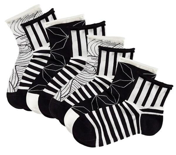 Socken für Frauen - TOM TAILOR Kurzsocken (4 Paar) schwarz weiß  - Onlineshop ABOUT YOU