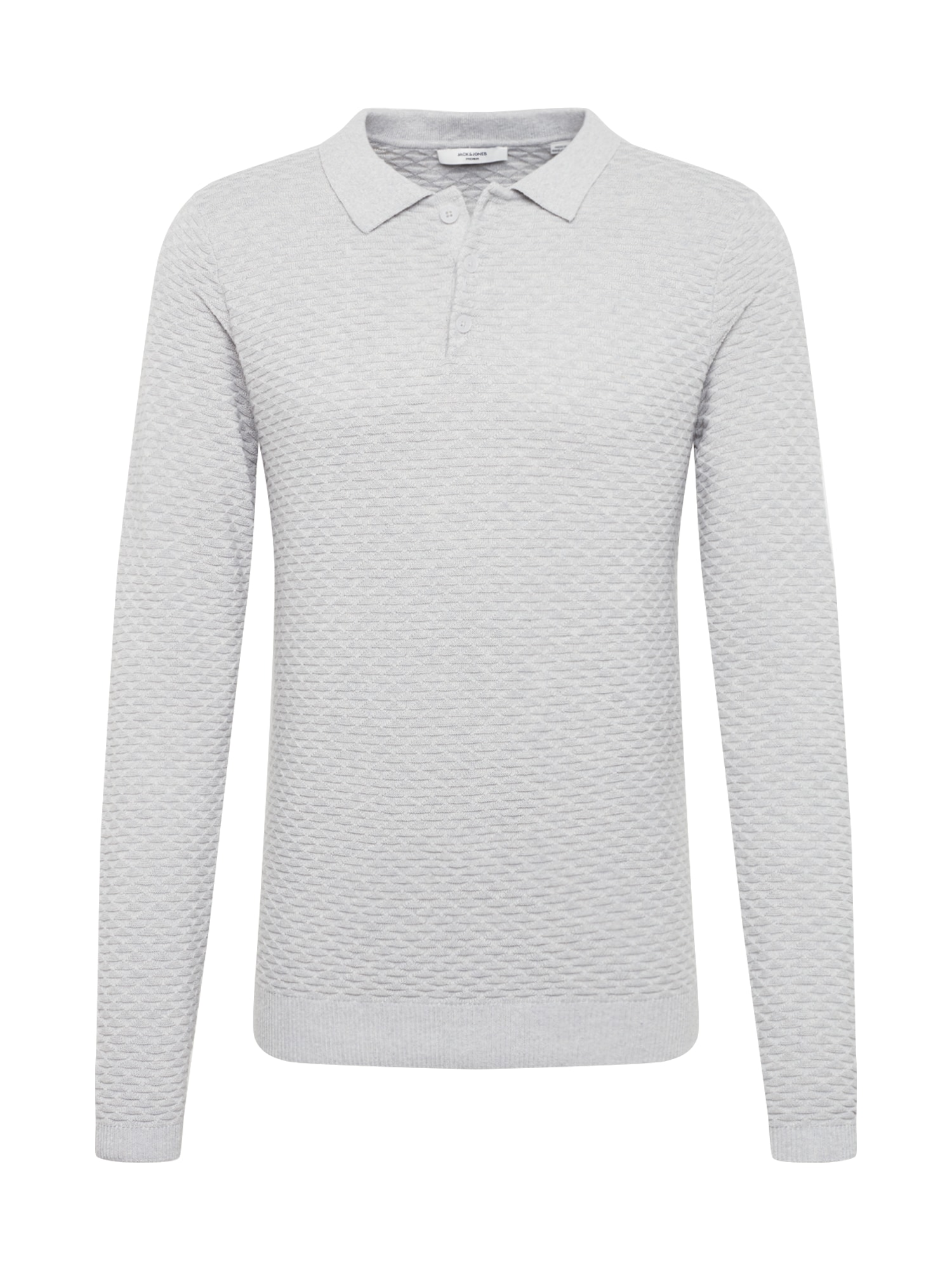 JACK & JONES Sveter 'JPRANTON KNIT LS POLO  TC419'  svetlosivá