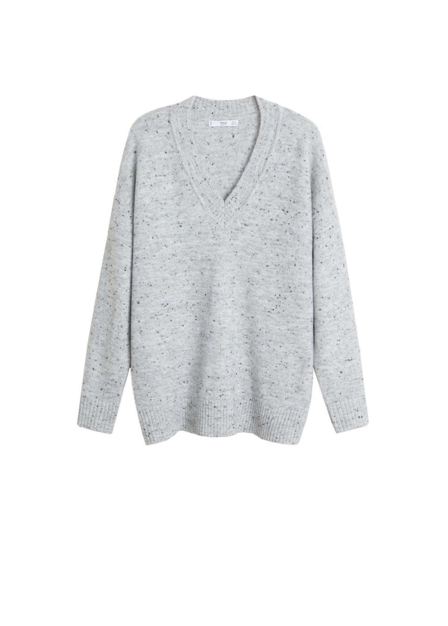 Damen Mango Pullover 'Confeti' grau, schwarz | 08445035591116