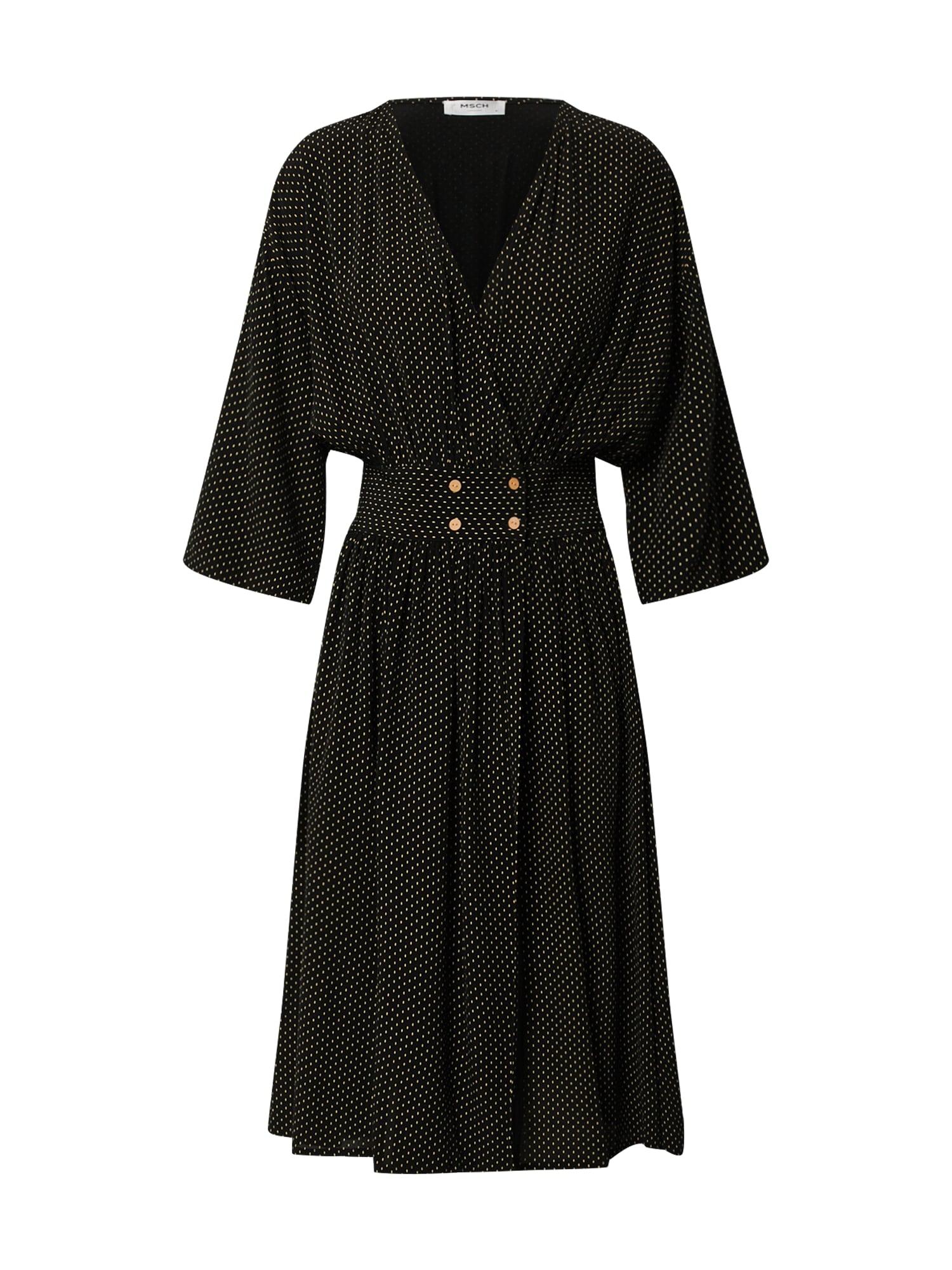 MOSS COPENHAGEN Šaty 'Amara Morocco'  čierna / biela