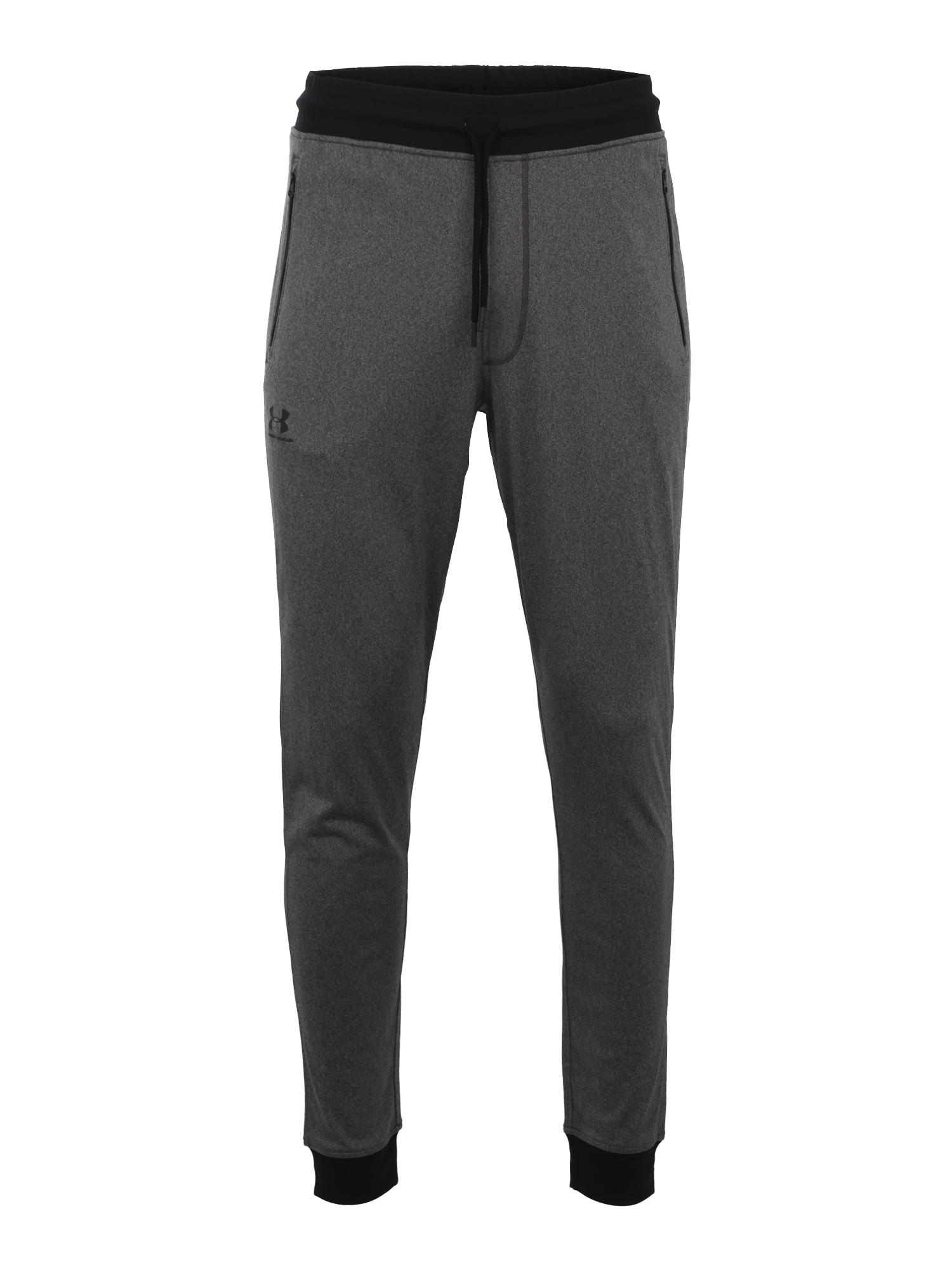 UNDER ARMOUR Sportinės kelnės juoda / margai pilka