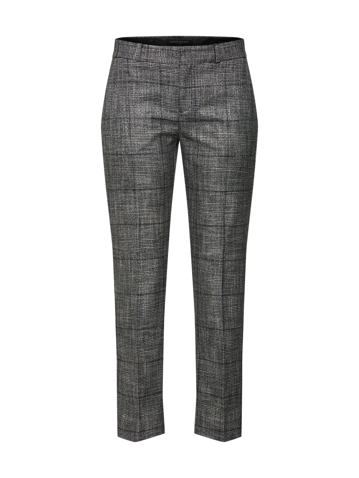 Banana Republic Kelnės su kantu 'AVERY TEXTURED MENSWEAR PLAID' pilka / juoda