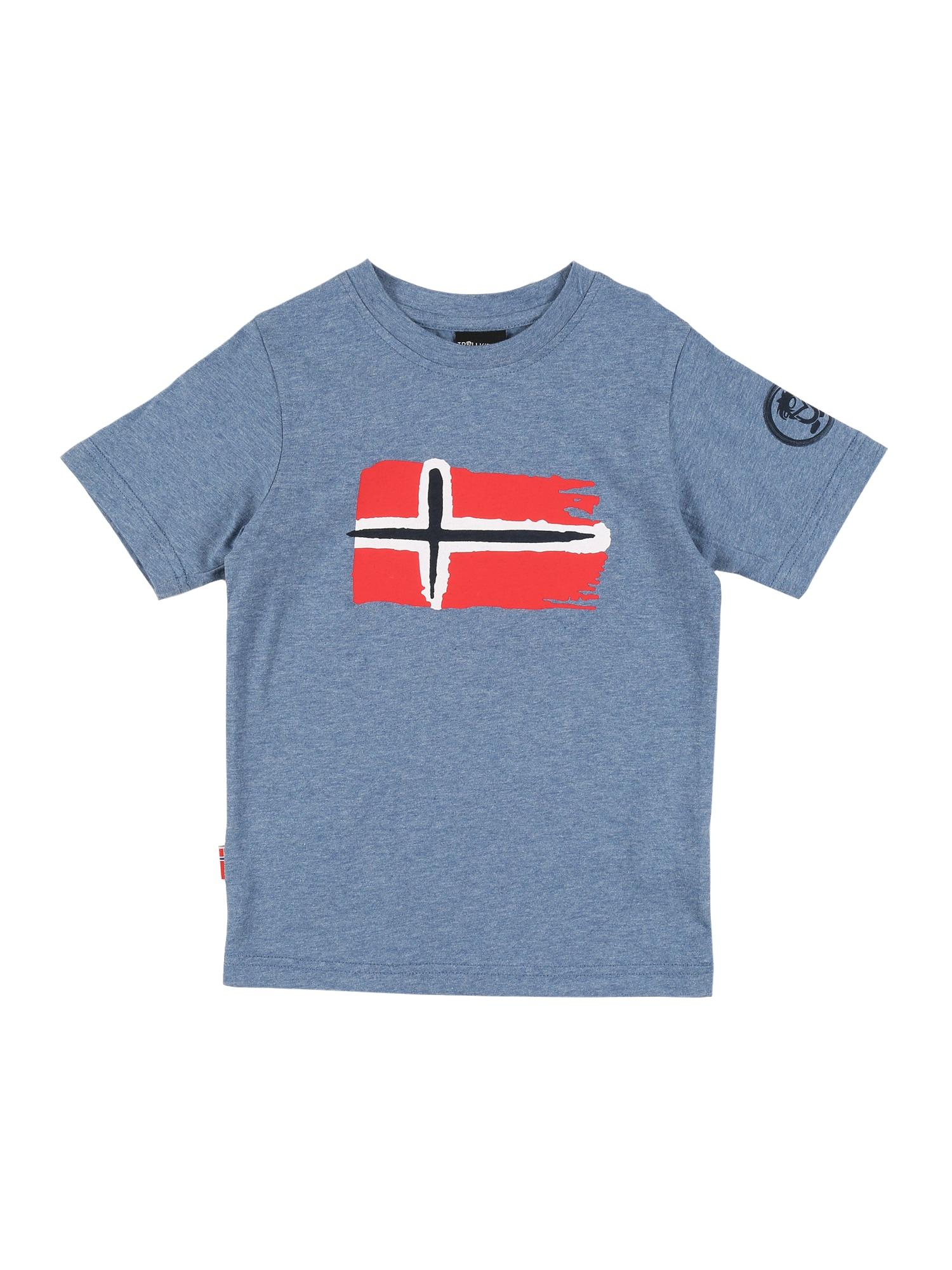 TROLLKIDS Tričko 'Oslo'  červené / modrosivá