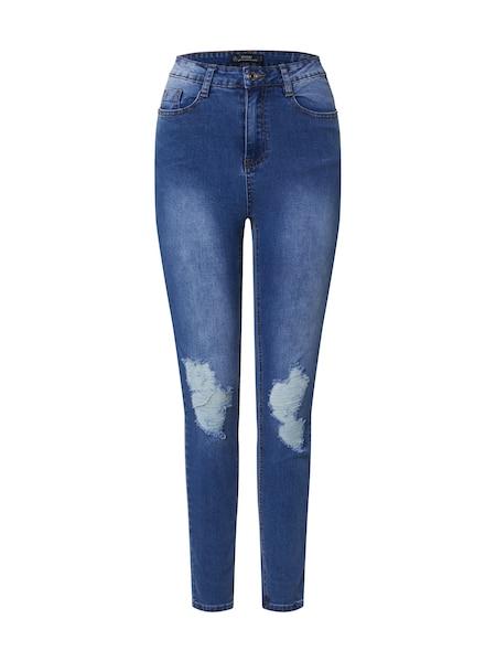 Hosen - Jeans 'SINNER DISTRESS KNEE CUT HEM HIGH WAISTED SKINNY JEAN' › Missguided › hellblau  - Onlineshop ABOUT YOU