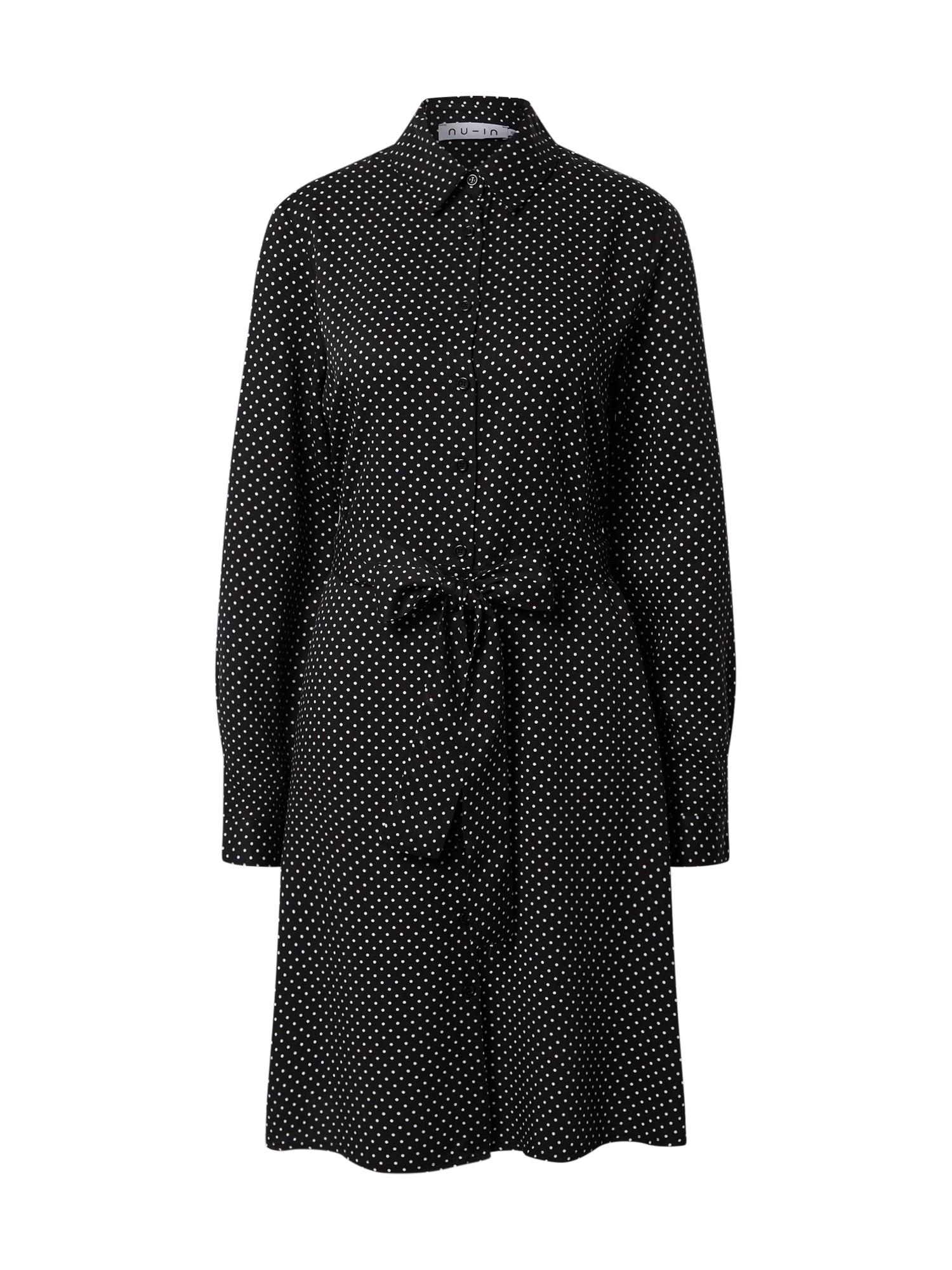 NU-IN Košilové šaty  bílá / černá