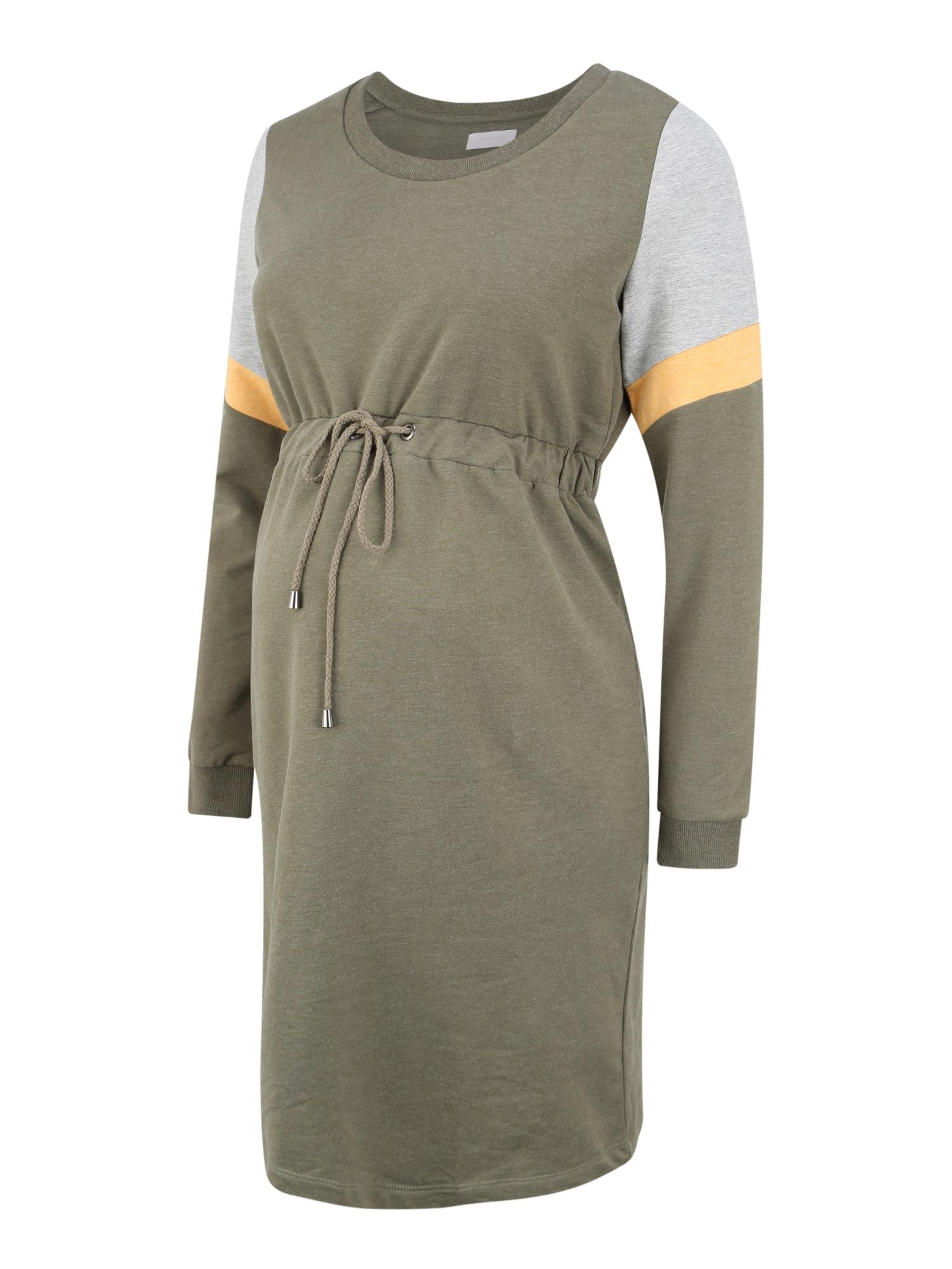MAMALICIOUS Šaty  sivá melírovaná / žlté / olivová