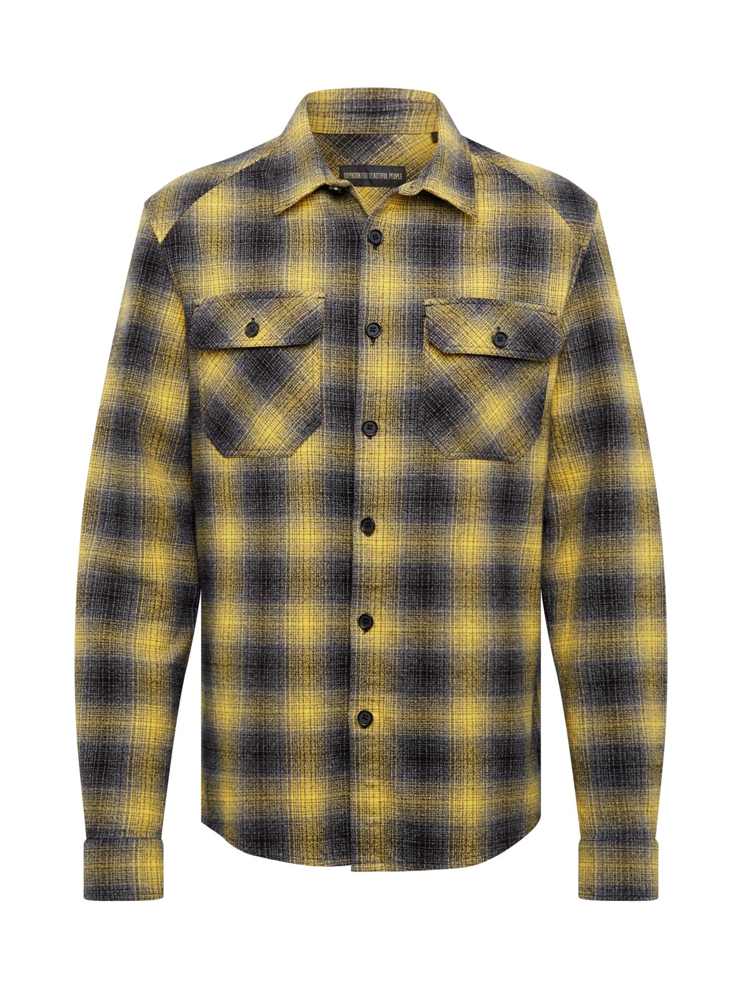 DRYKORN Dalykiniai marškiniai geltona / juoda