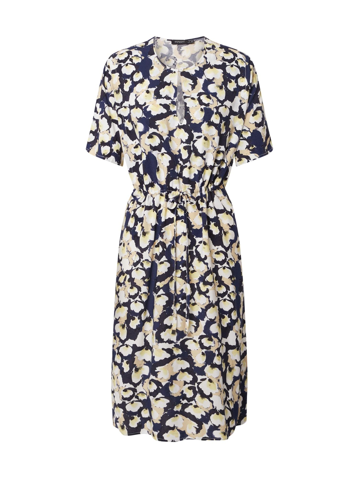 SOAKED IN LUXURY Letné šaty 'Rafina'  zmiešané farby / biela / námornícka modrá