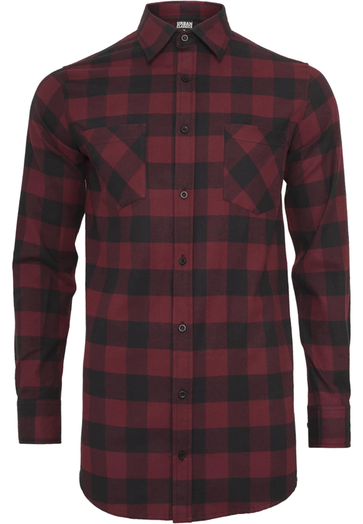 Urban Classics Dalykiniai marškiniai vyšninė spalva / juoda