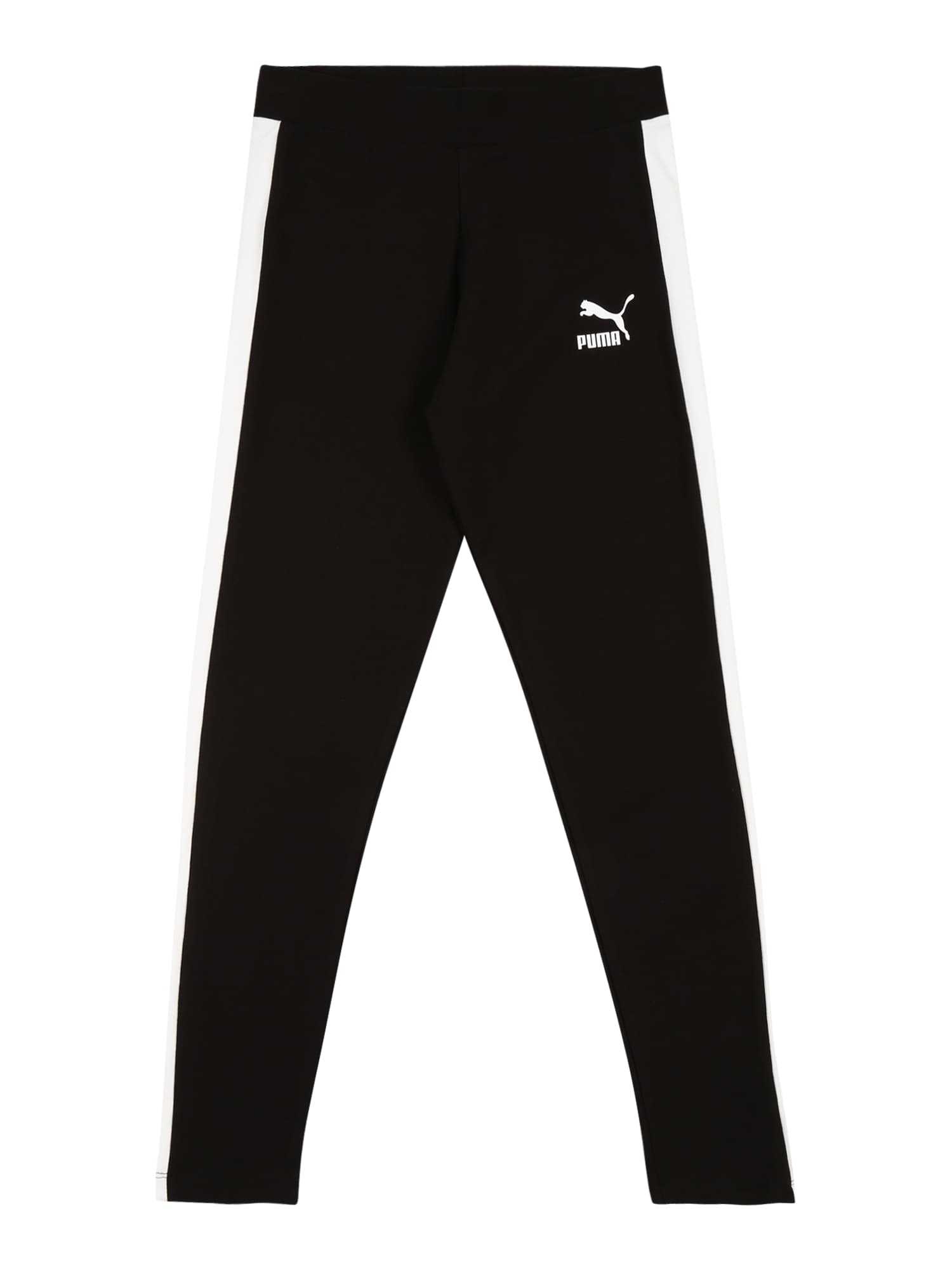 PUMA Sportinės kelnės 'Classics T7' juoda / balta