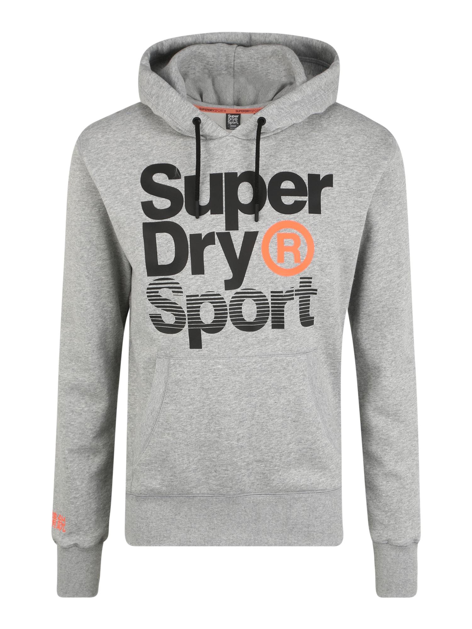 Superdry Sportinio tipo megztinis 'CORE SPORT OVERHEAD' juoda / pilka
