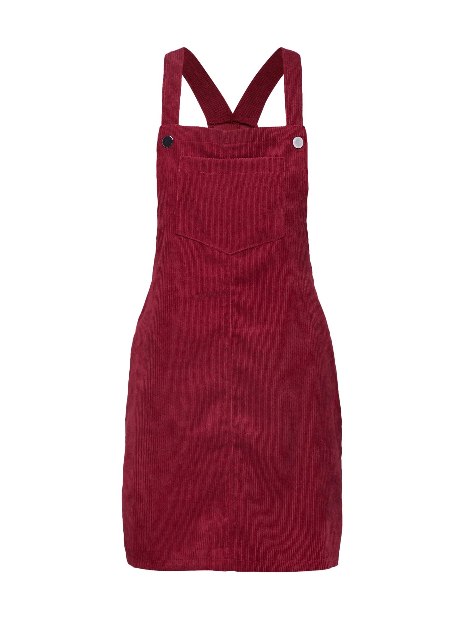 Laclová sukně CORDUROY PINAFORE DRESS burgundská červeň Missguided