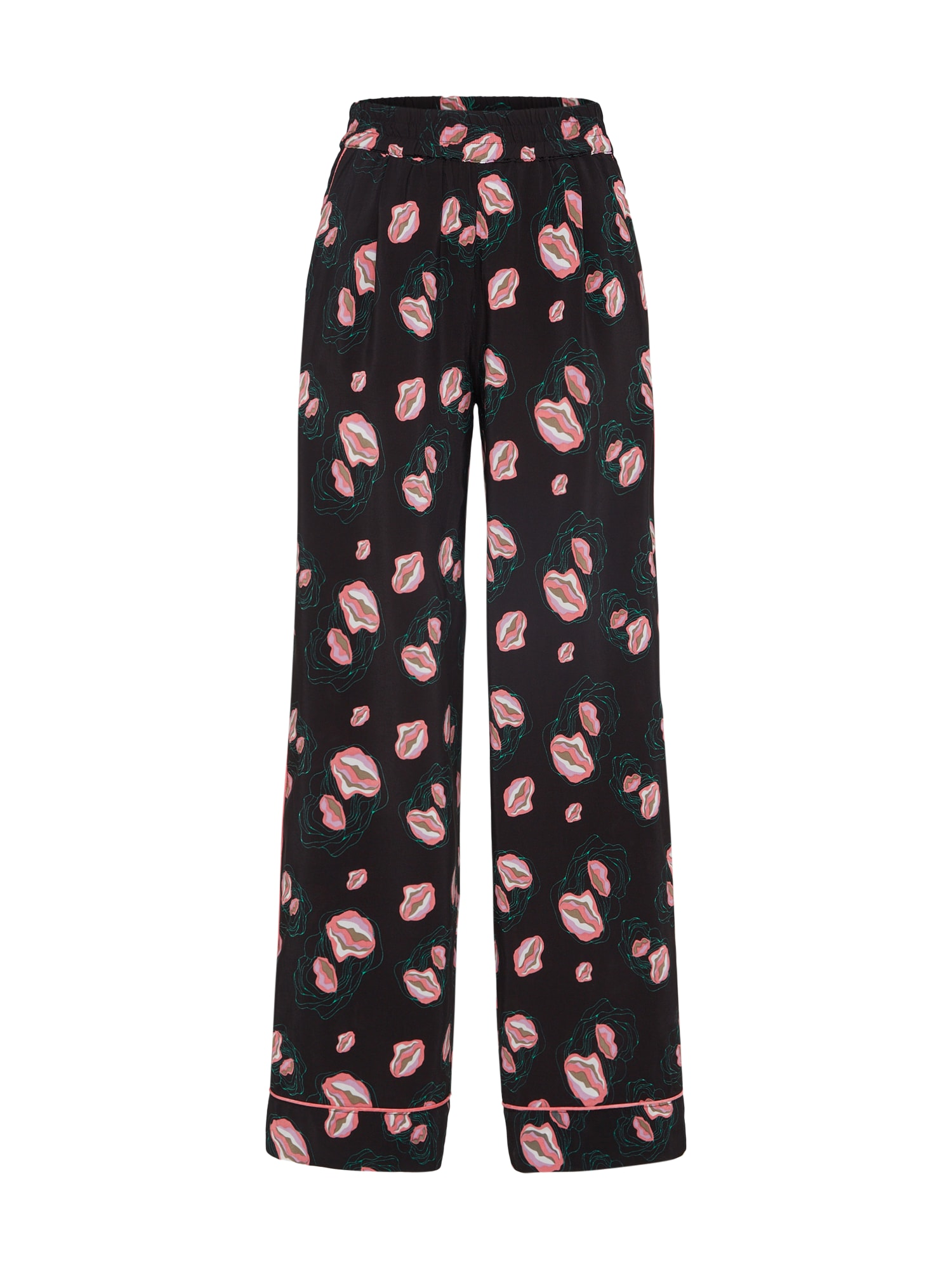 Kalhoty se sklady v pase Harvy pink černá RUE De FEMME