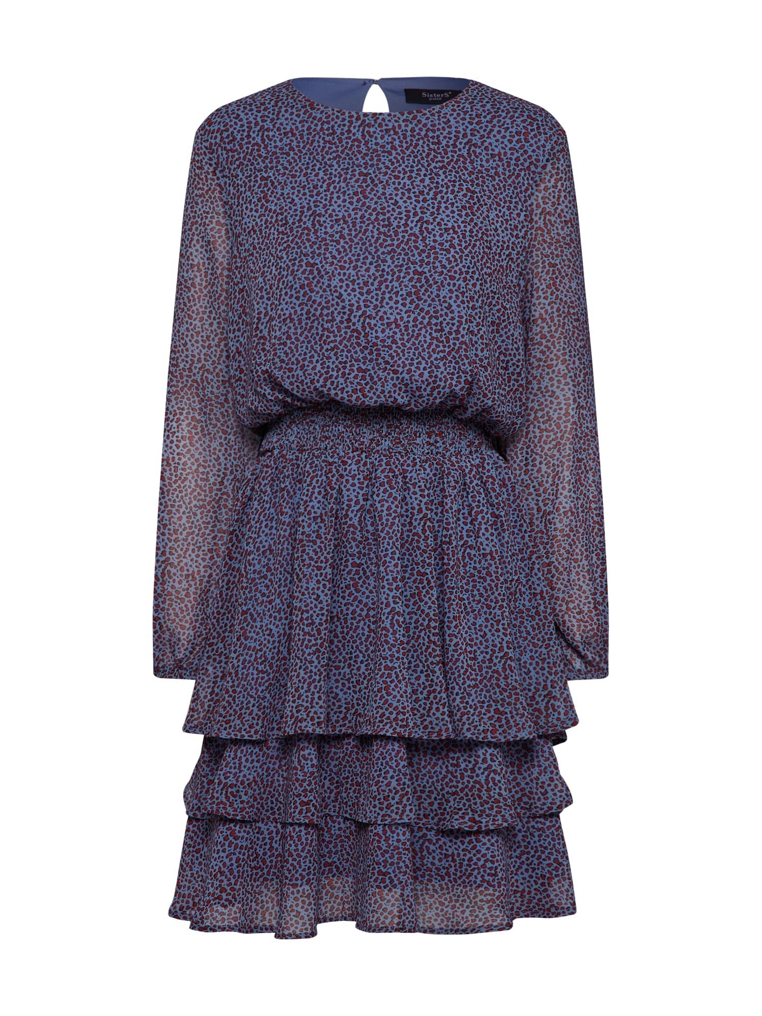 SISTERS POINT Kokteilové šaty 'NICOLINE-LS4'  modrá / biela
