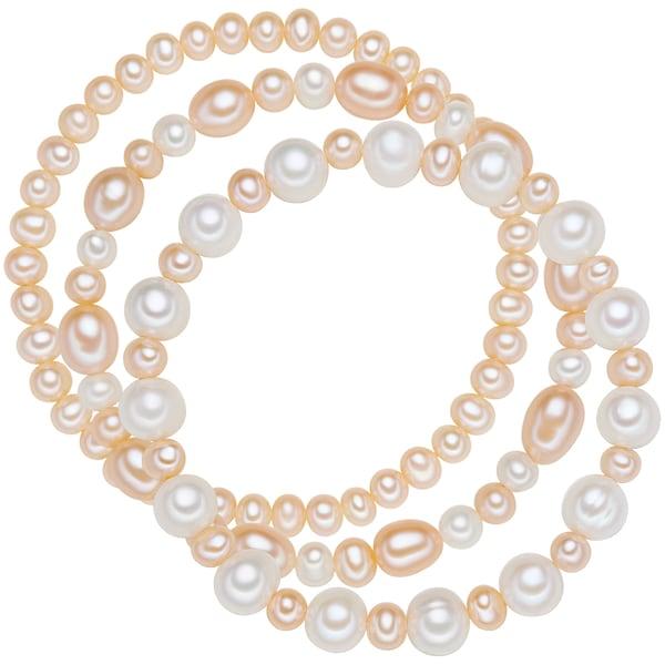 Armbaender für Frauen - Valero Pearls Armband mit Süßwasser Zuchtperlen 3er Set apricot weiß  - Onlineshop ABOUT YOU