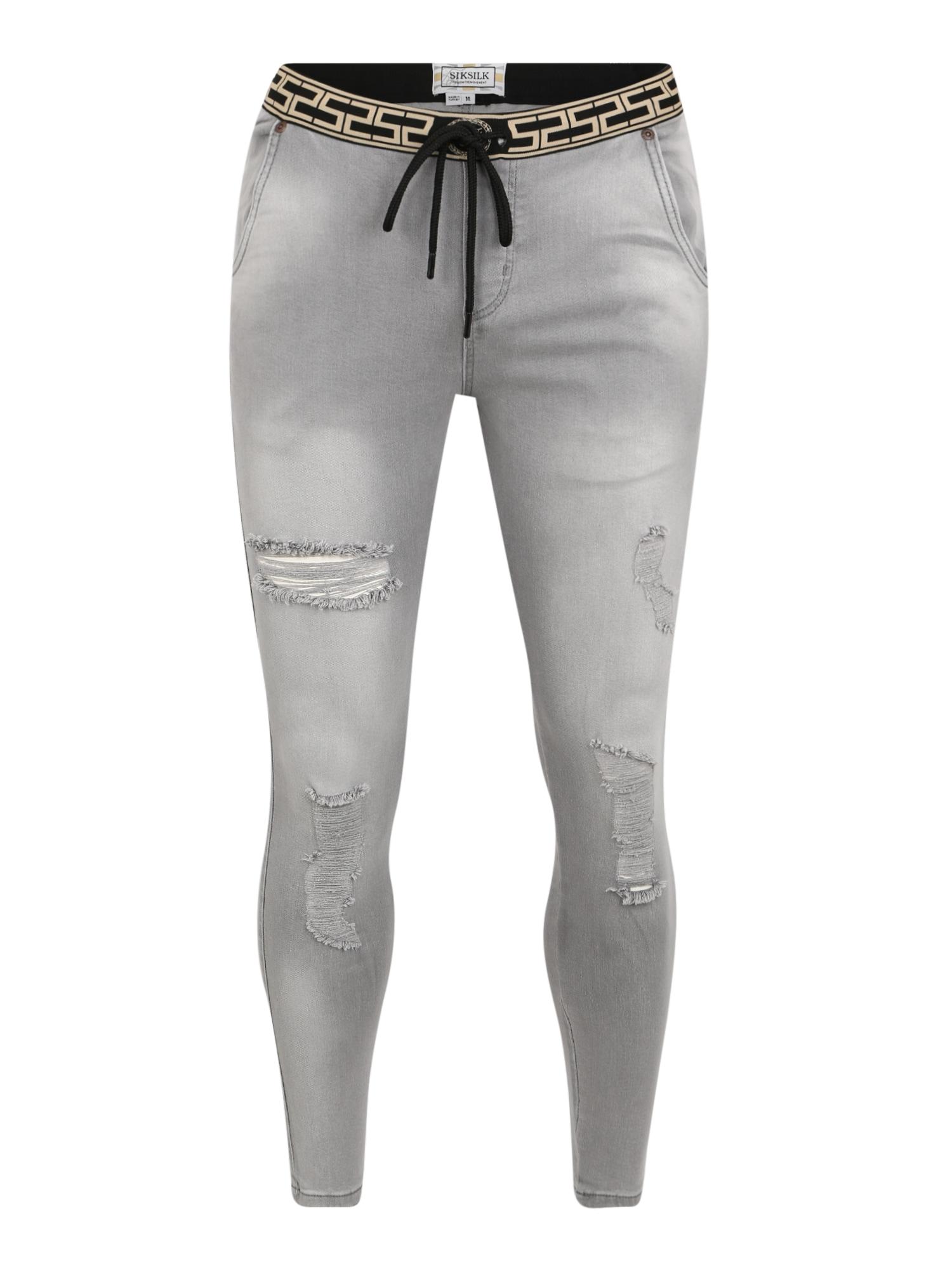SikSilk Džinsai 'siksilk elasticated waist skinny distressed' pilko džinso