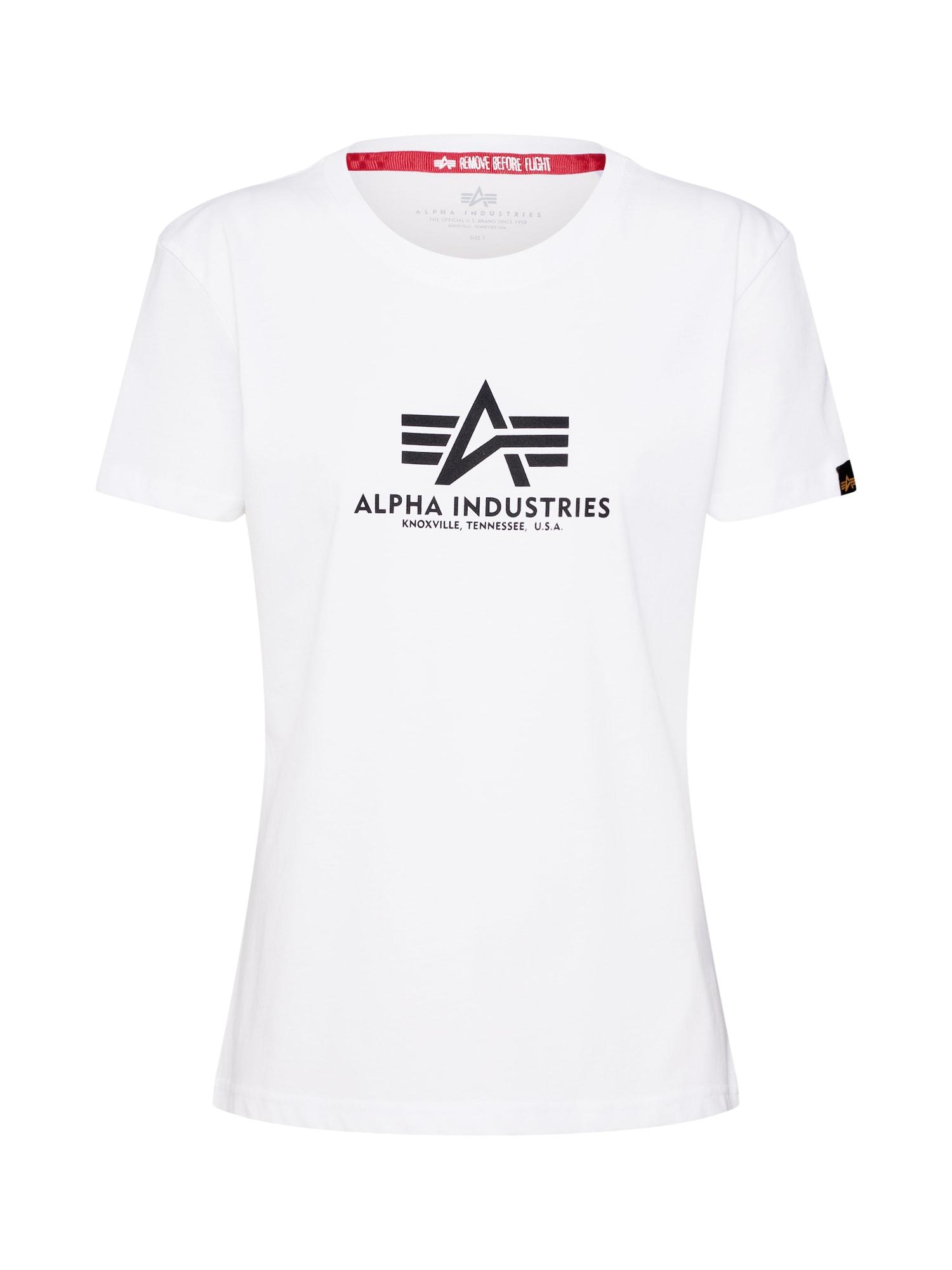 ALPHA INDUSTRIES Marškinėliai balta / juoda