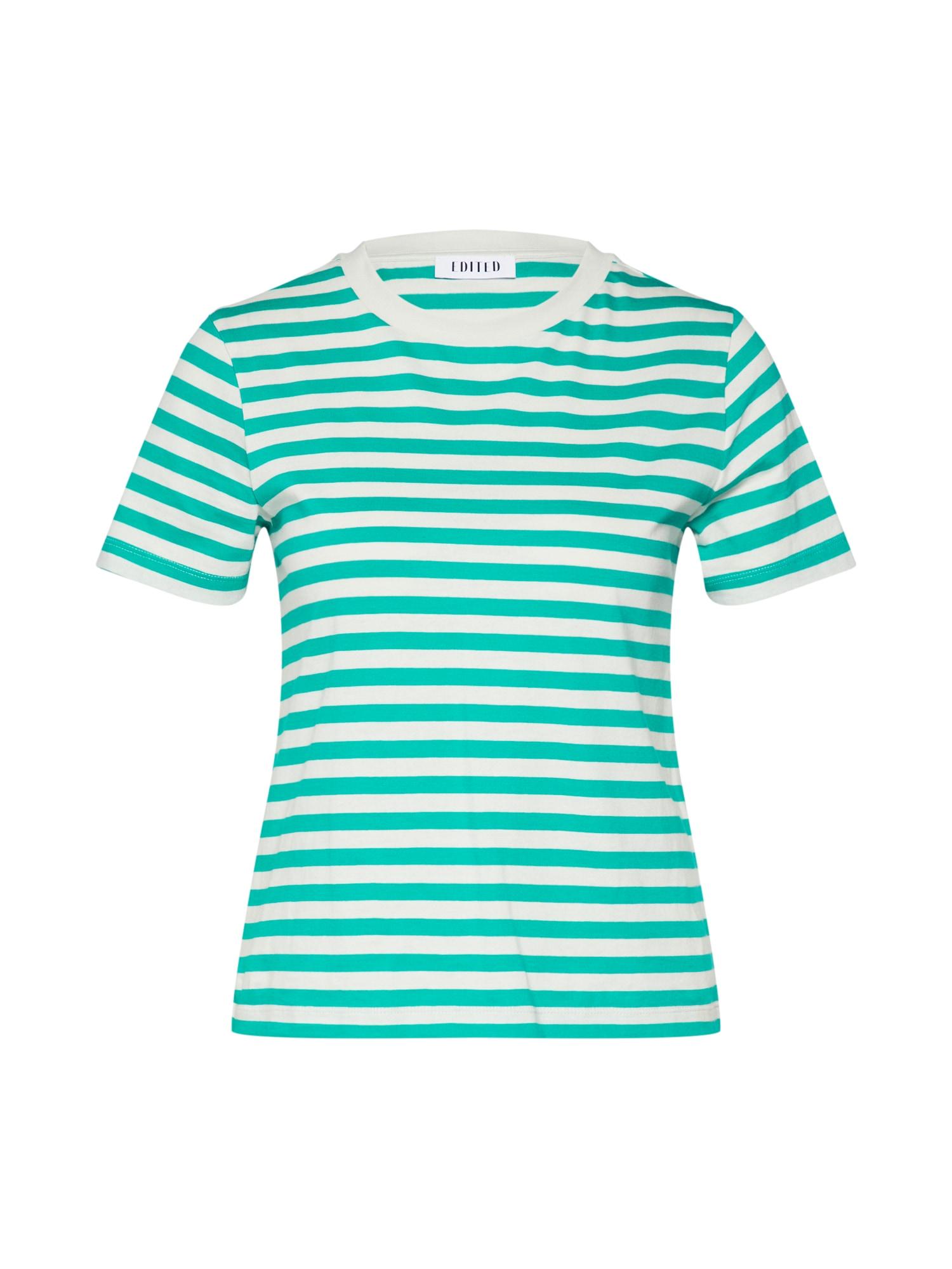 EDITED Marškinėliai 'Leila' balta / žalia
