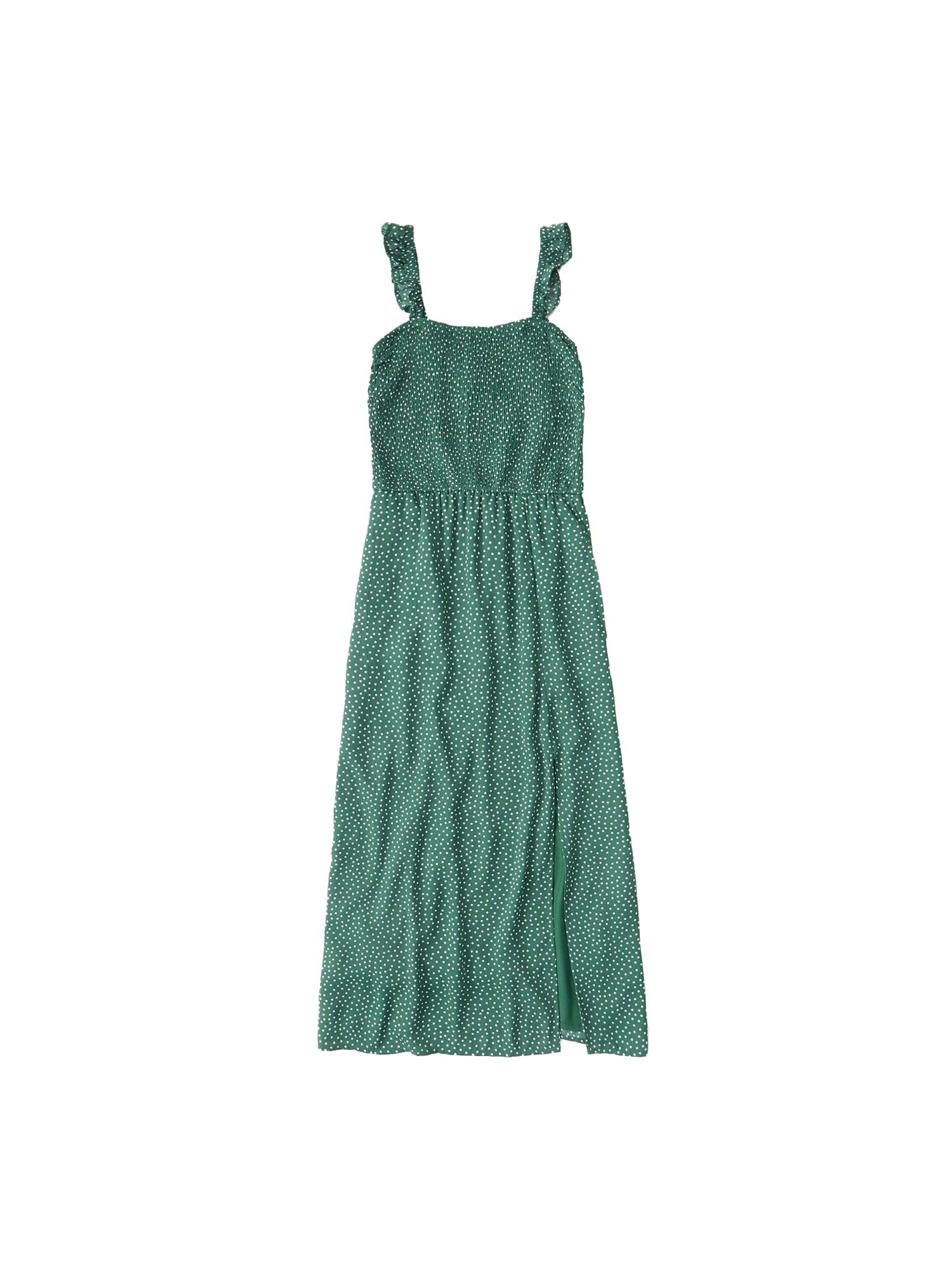 Abercrombie & Fitch Vasarinė suknelė 'SMOCKED BODICE M' žalia / balta