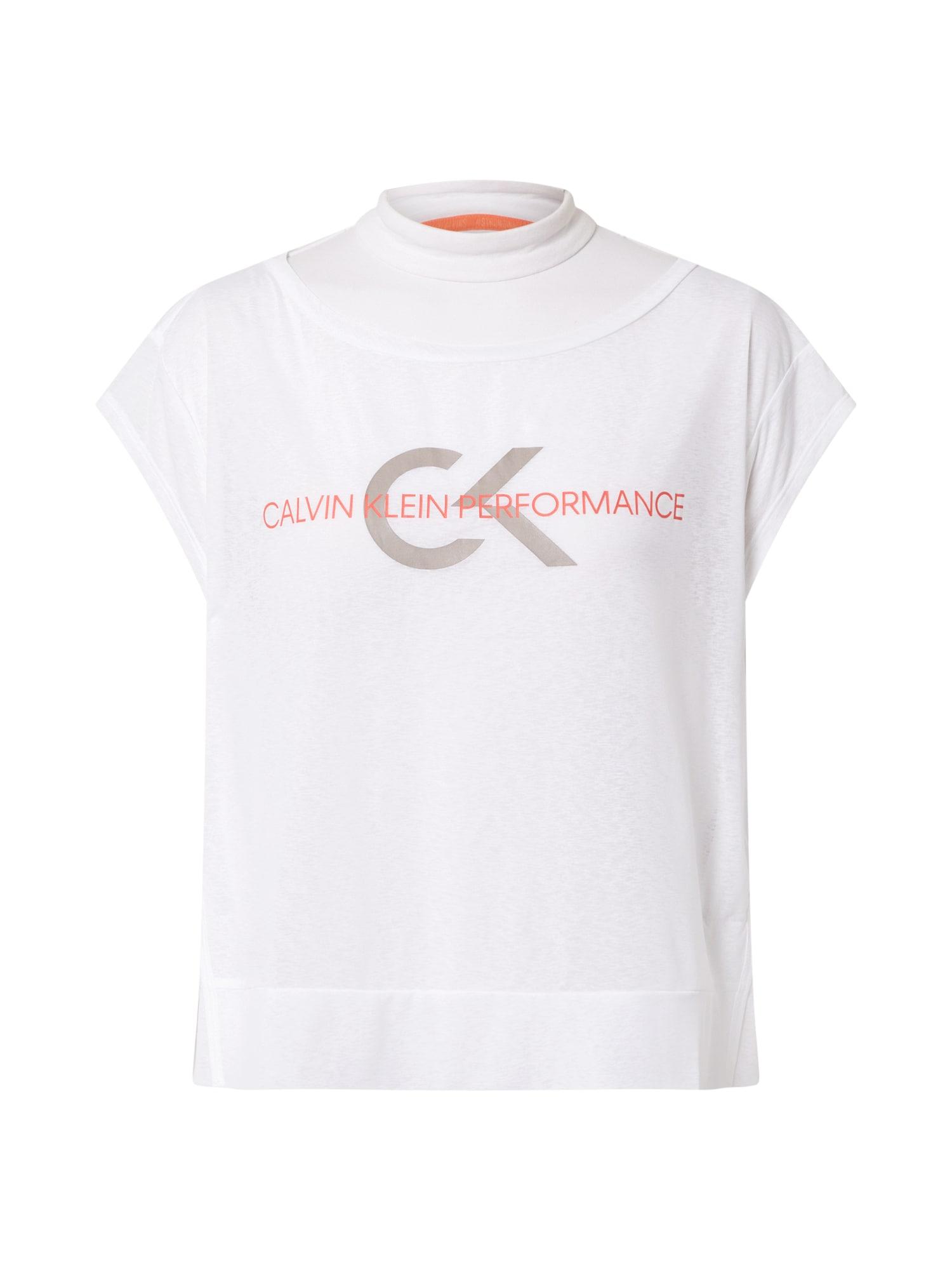 Calvin Klein Performance Funkčné tričko  prírodná biela / oranžová