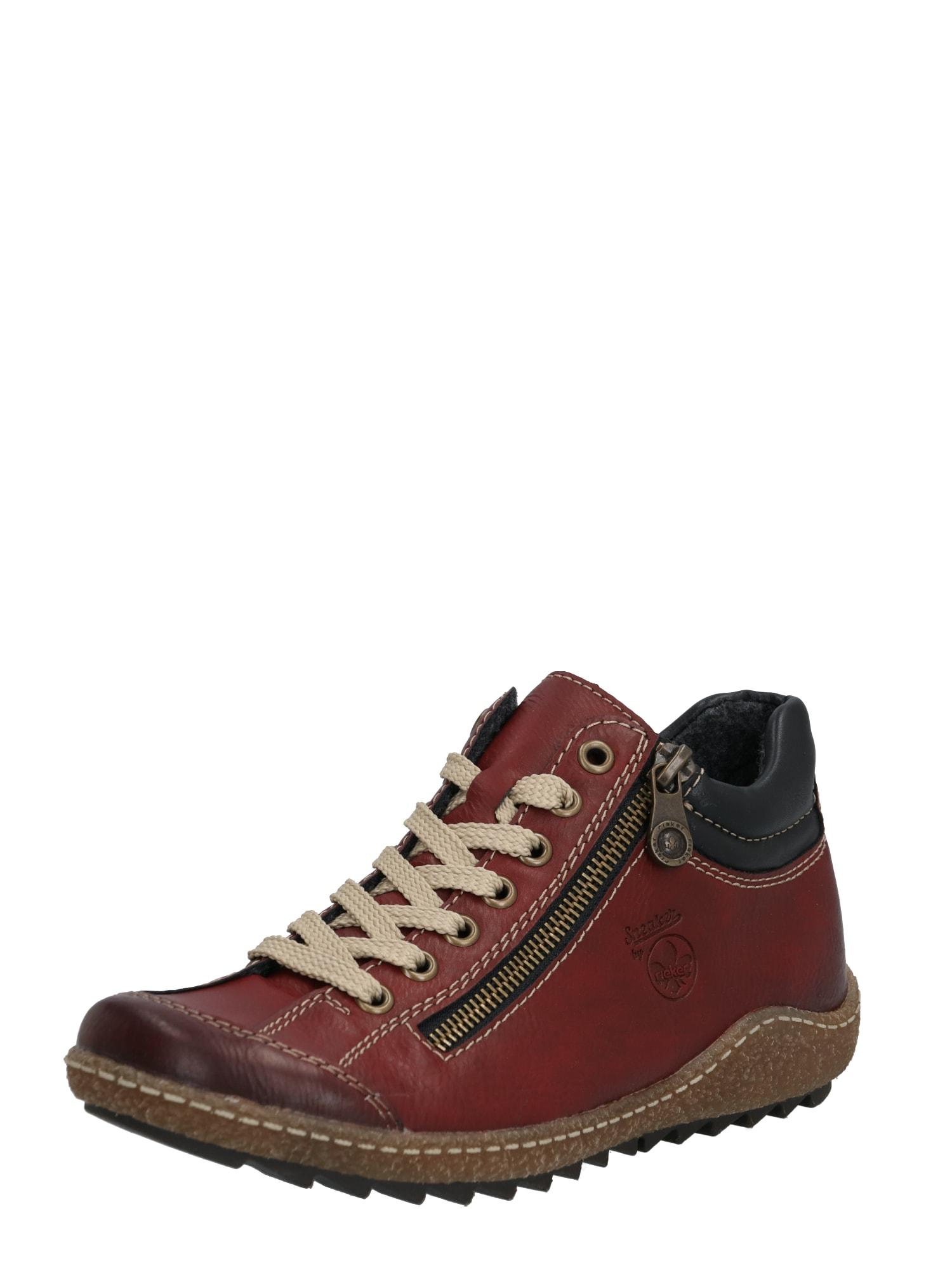 RIEKER Šnurovacie topánky  čierna / vínovo červená