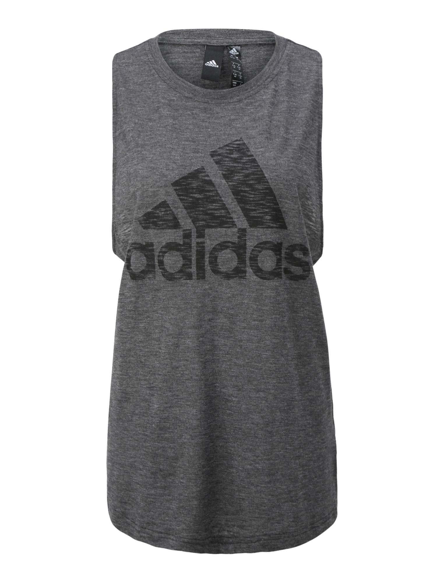 ADIDAS PERFORMANCE Sportiniai marškinėliai be rankovių juoda / margai pilka