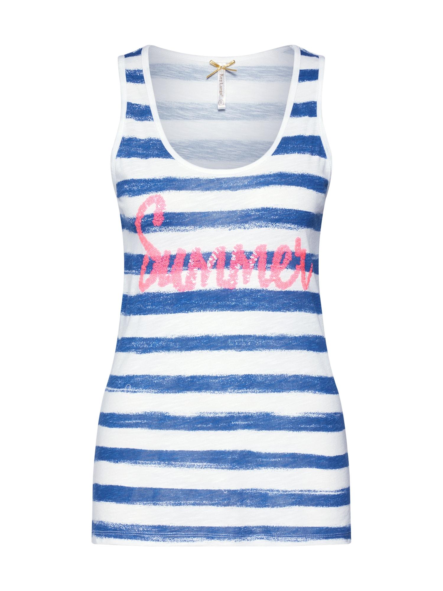 Key Largo Palaidinė be rankovių 'SUMMER' mėlyna / rožinė / balta