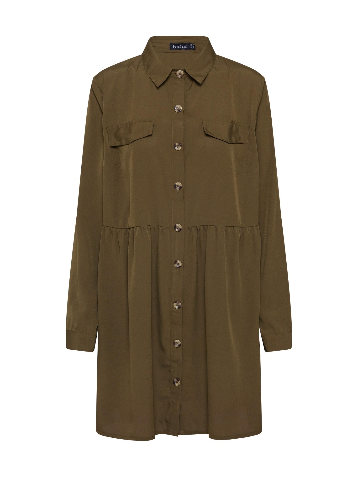 Boohoo Palaidinės tipo suknelė 'Button Through Smock Shirt' rusvai žalia
