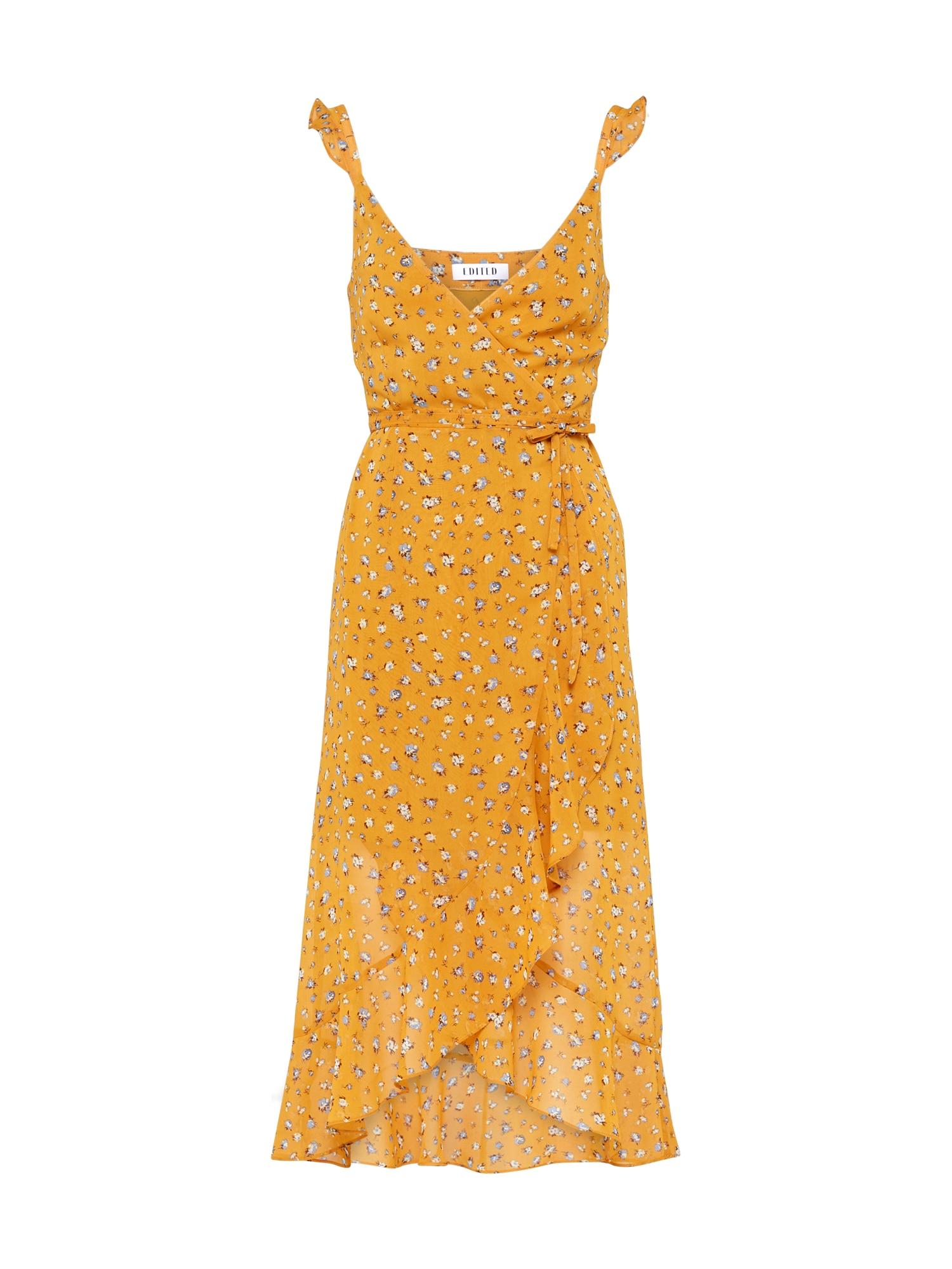 EDITED Vasarinė suknelė 'Inken' garstyčių spalva / mėlyna / ruda
