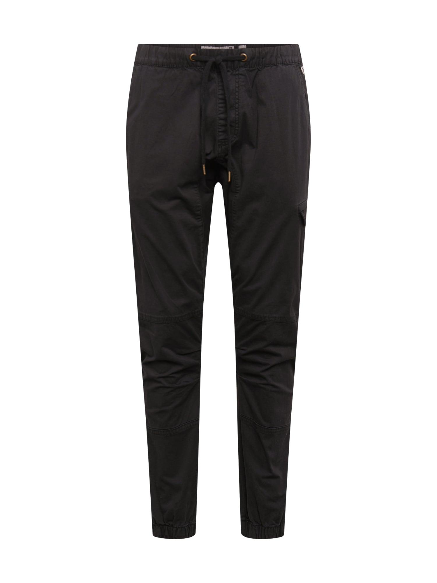 INDICODE JEANS Laisvo stiliaus kelnės 'Levy' juoda