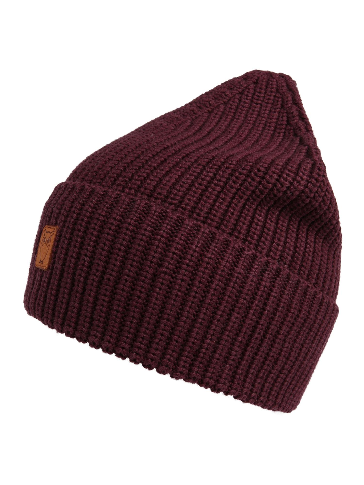 KnowledgeCotton Apparel Megzta kepurė 'Ribbing - GOTS' vyno raudona spalva