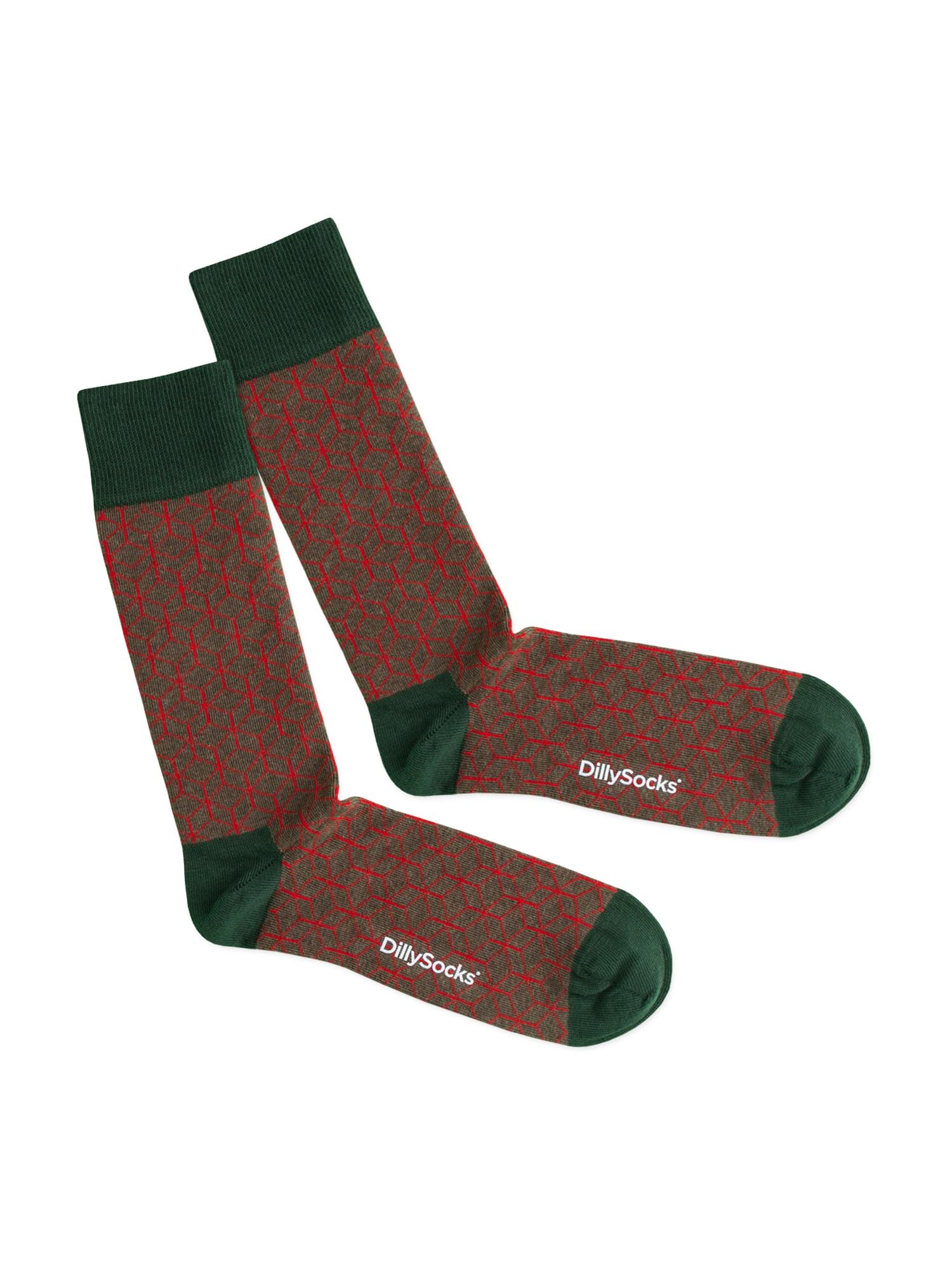 DillySocks Kojinės 'Red Lining' žalia / raudona