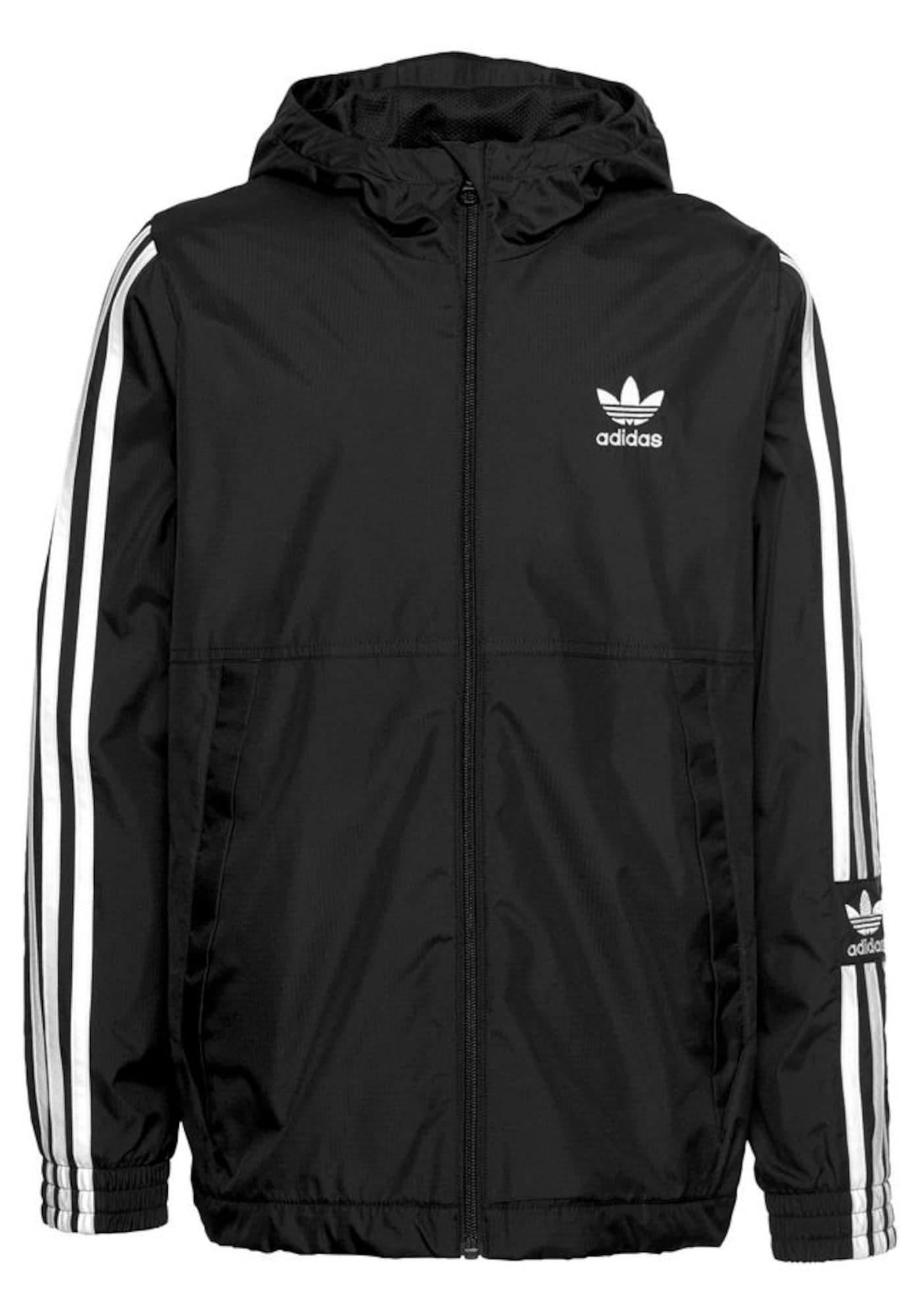 ADIDAS ORIGINALS Demisezoninė striukė 'Lock Up Windbreaker' balta / juoda