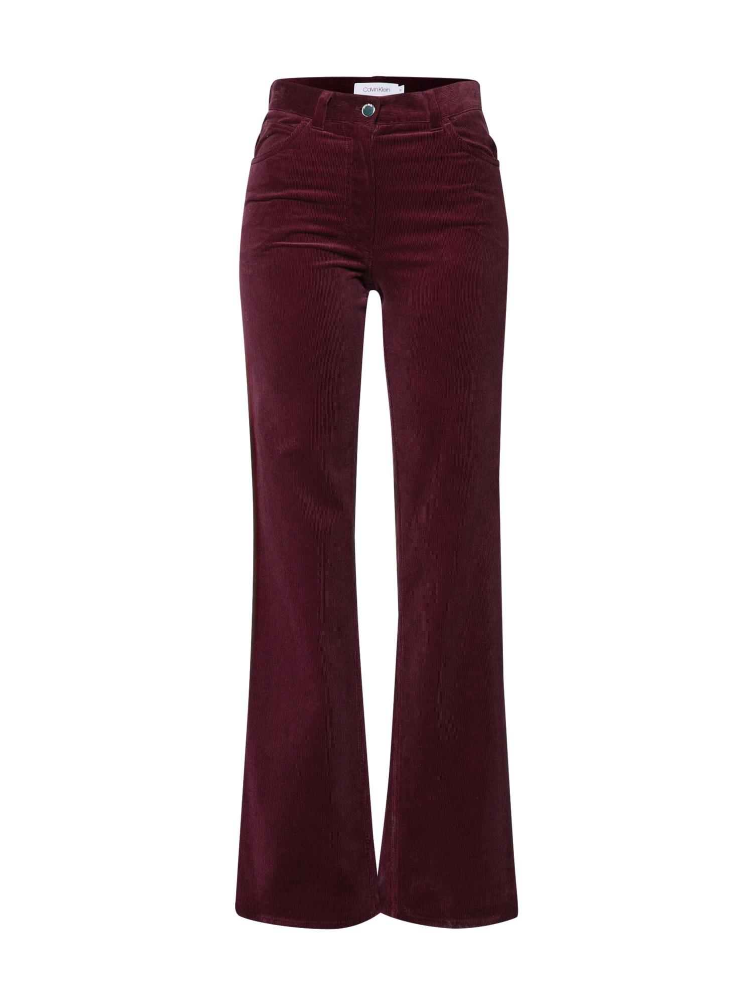 Kalhoty CORDUROY tmavě červená Calvin Klein