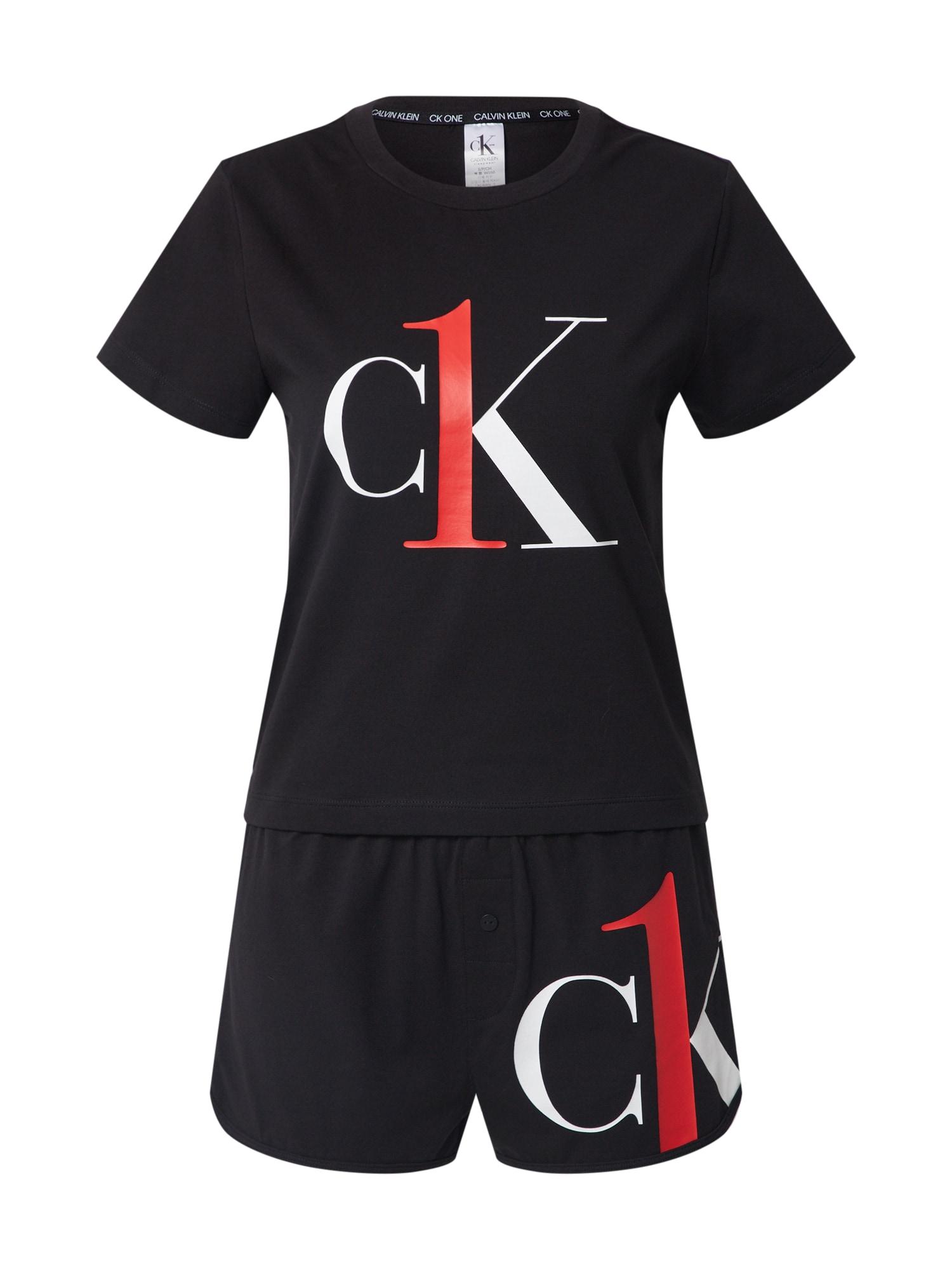 Calvin Klein Underwear Pižama juoda / balta / šviesiai raudona