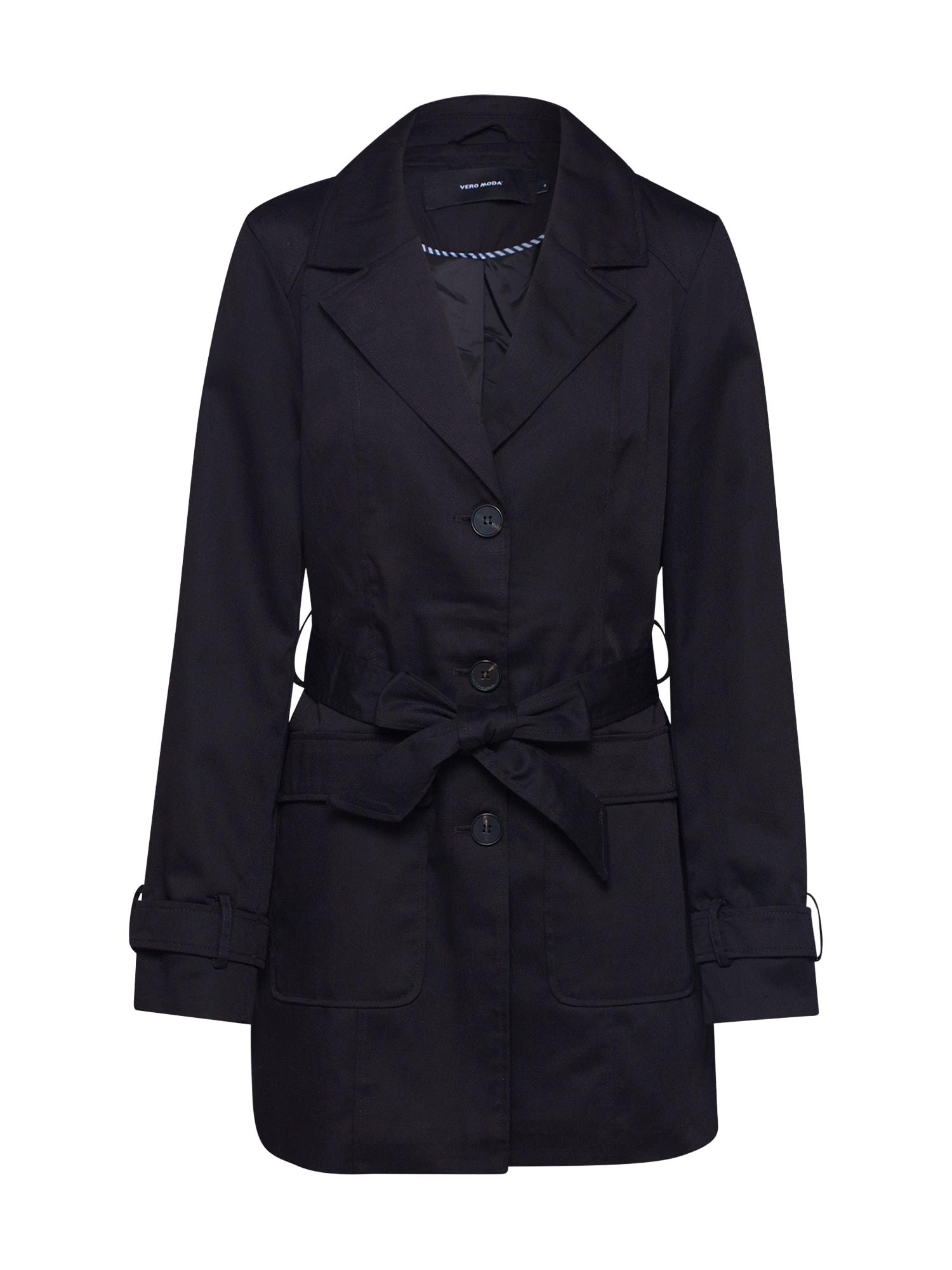 VERO MODA Přechodný kabát 'VMABBYSOFIA 3/4 TRENCHCOAT BOOS'  černá