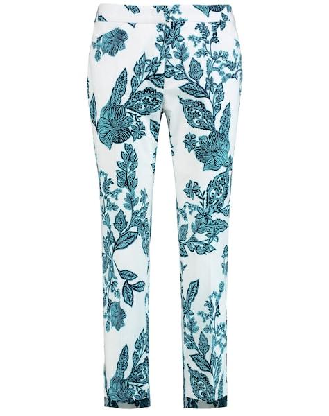 Hosen - Hose Freizeit verkürzt 7 8 Hose mit Floral Print Slim Peg Leg › Taifun › blau weiß  - Onlineshop ABOUT YOU