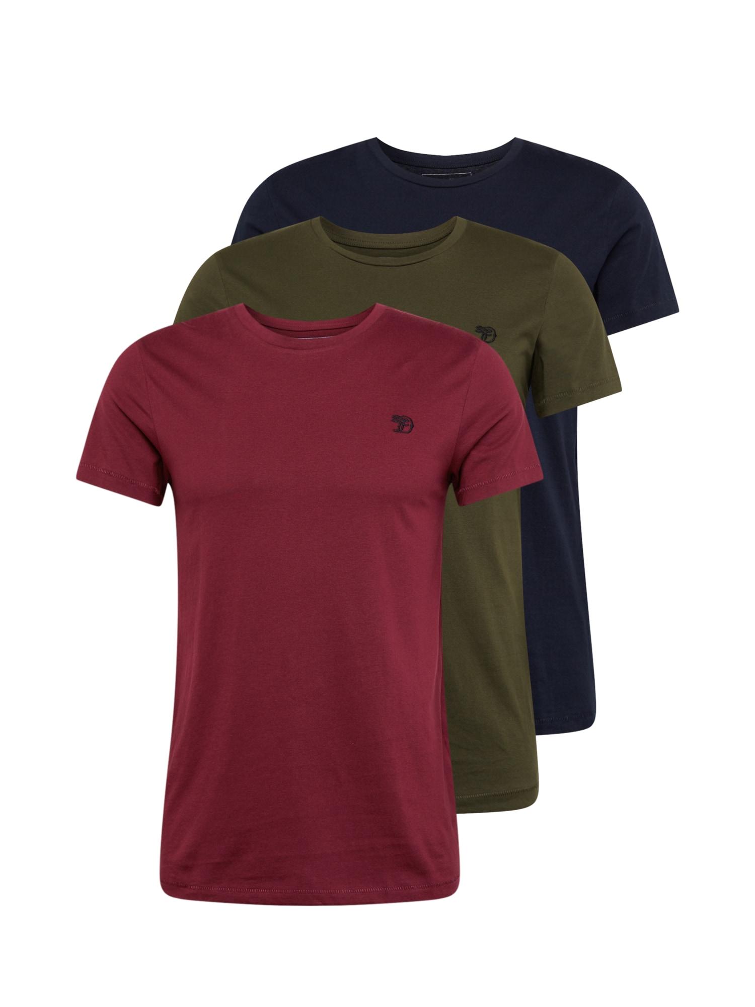 TOM TAILOR DENIM Marškinėliai vyno raudona spalva / tamsiai mėlyna / alyvuogių spalva