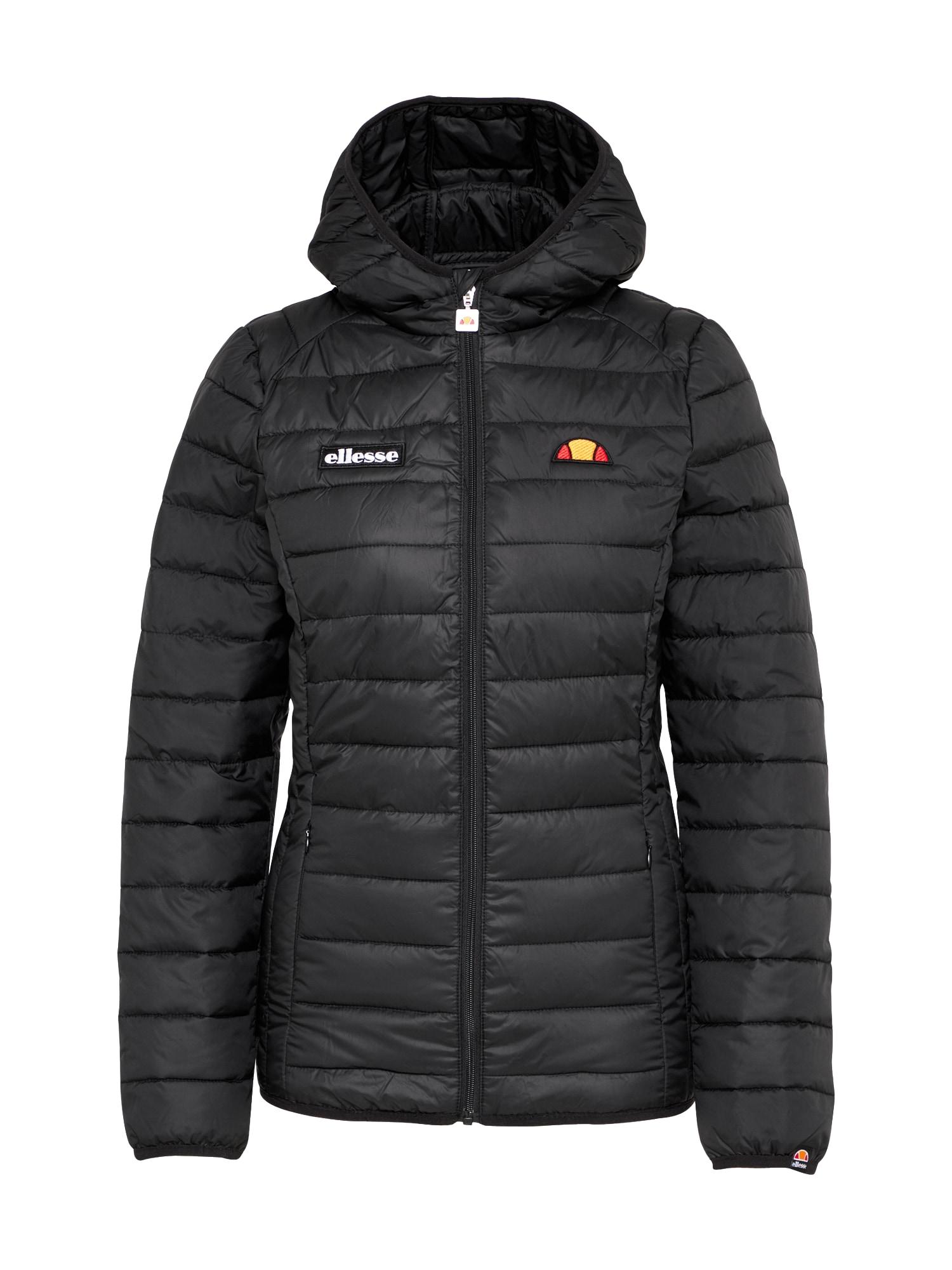ELLESSE Demisezoninė striukė juoda / balta / oranžinė / raudona