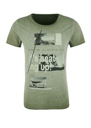 Q/S Designed By Herren T-Shirt mit Foto-Print khaki | 04056523579116