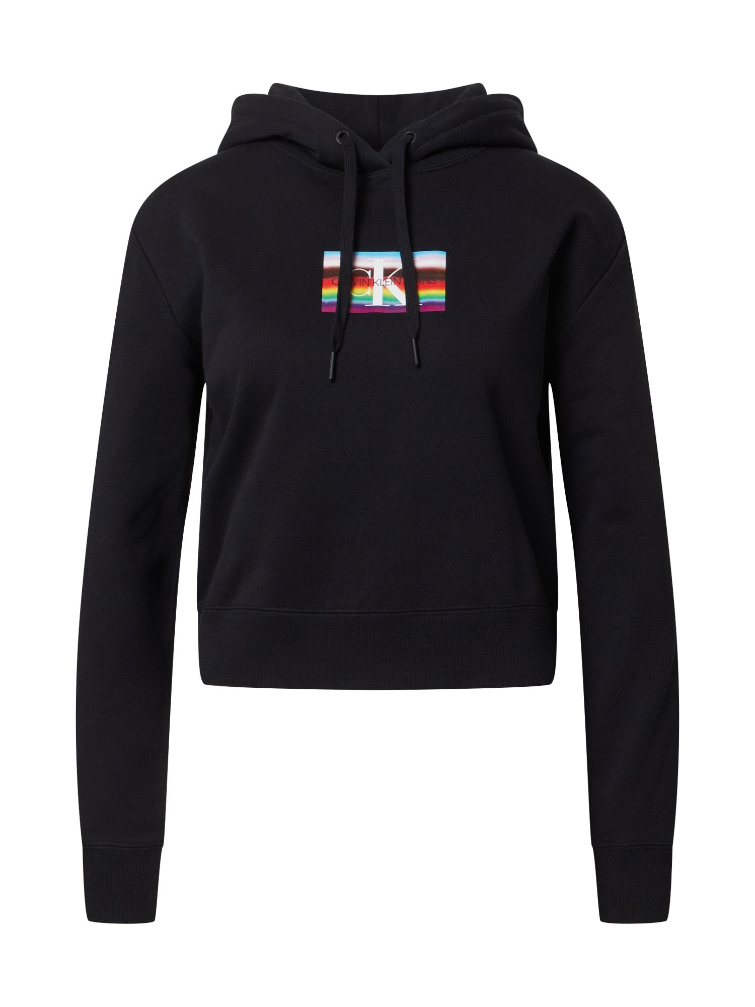 Calvin Klein Jeans Megztinis be užsegimo 'SMALL FLAG BOXY HOODIE' juoda