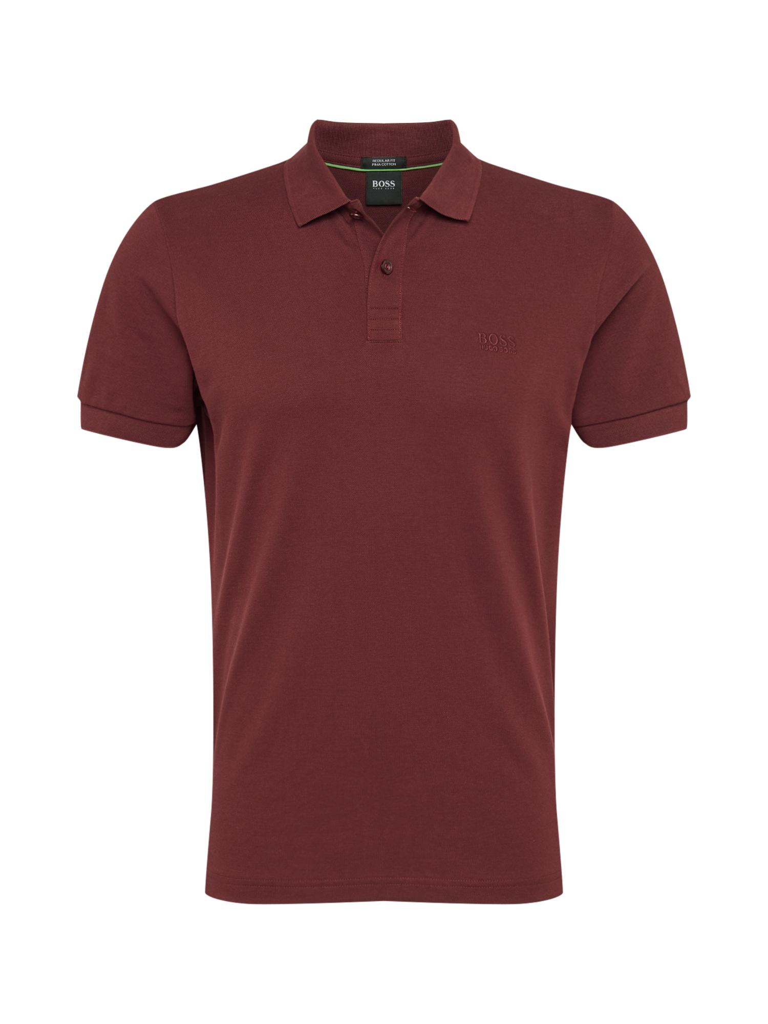BOSS ATHLEISURE Marškinėliai vyno raudona spalva