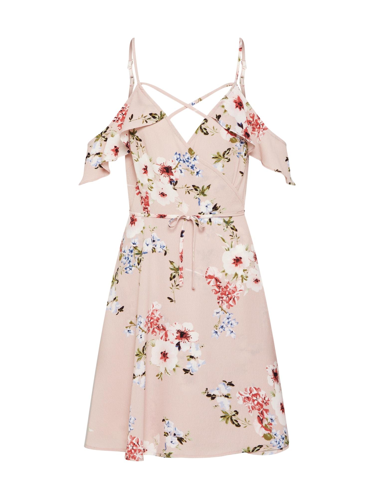 Boohoo Vasarinė suknelė 'FLORAL STRAPPY WRAP DRESS' rožių spalva / balta