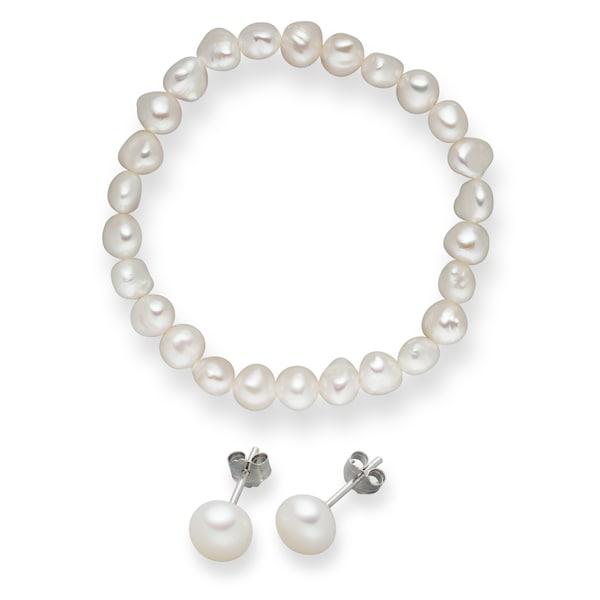 Armbaender für Frauen - Valero Pearls Süßwasserzuchtperlen Armband und Ohrstecker (2er Set) perlweiß  - Onlineshop ABOUT YOU
